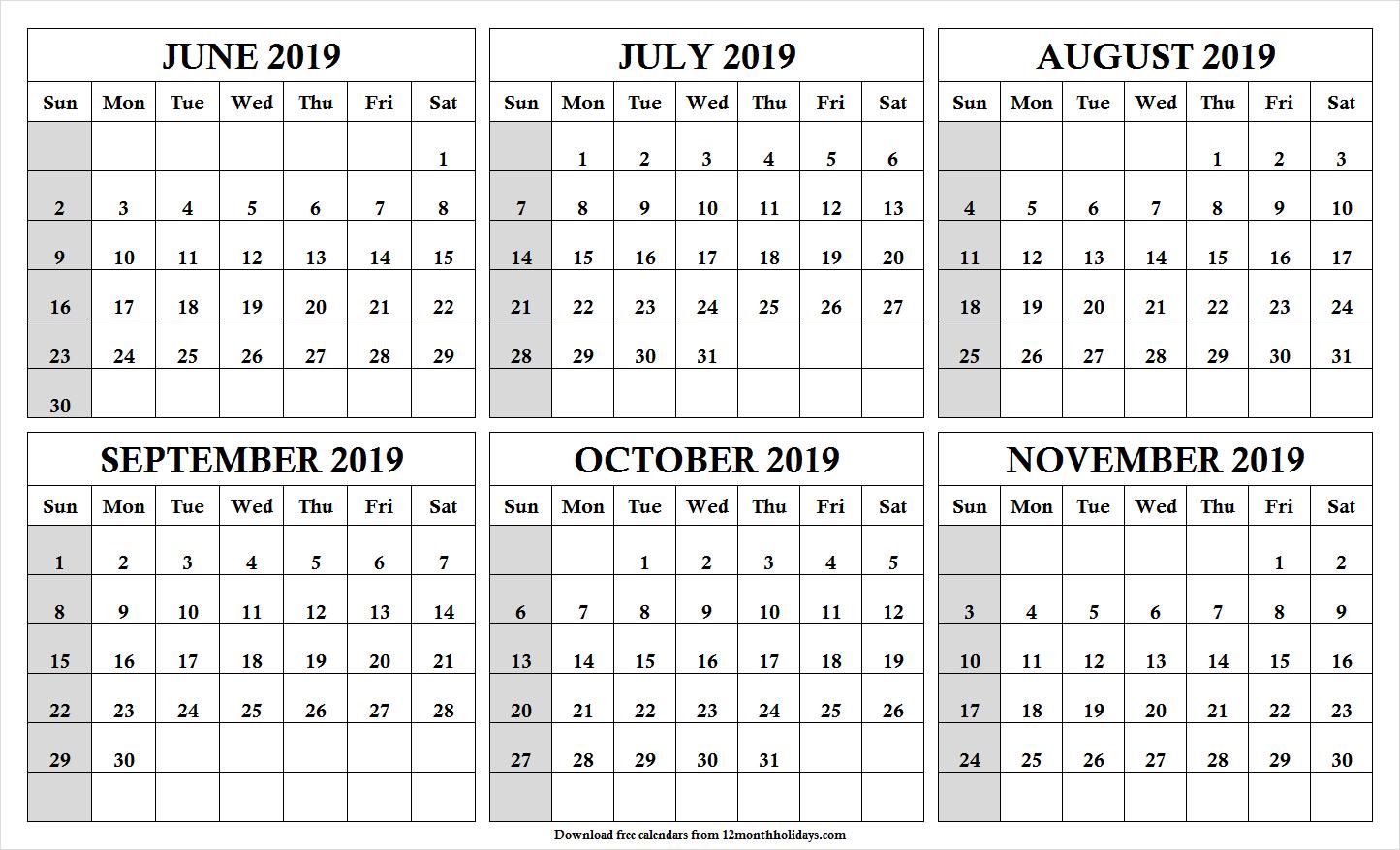 6 Month Calendar June To November 2019 Template | Cute Month