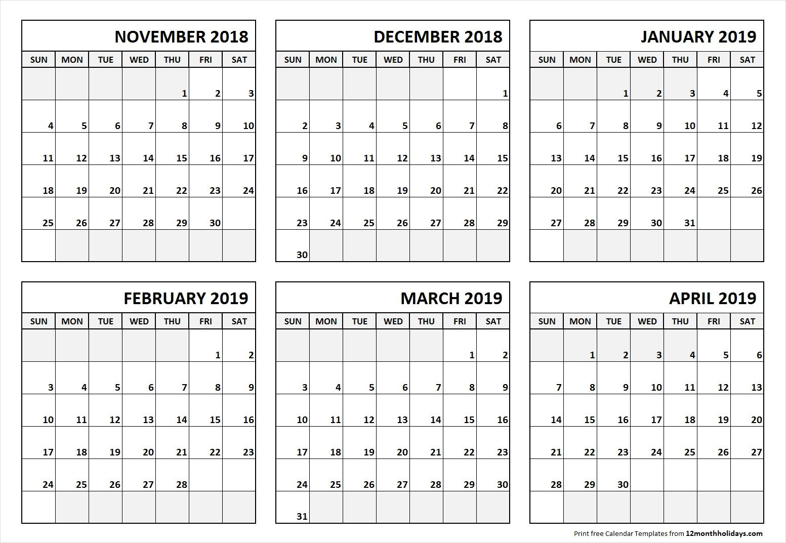 6 Month Calendar November 2018 To April 2019 | June 2019
