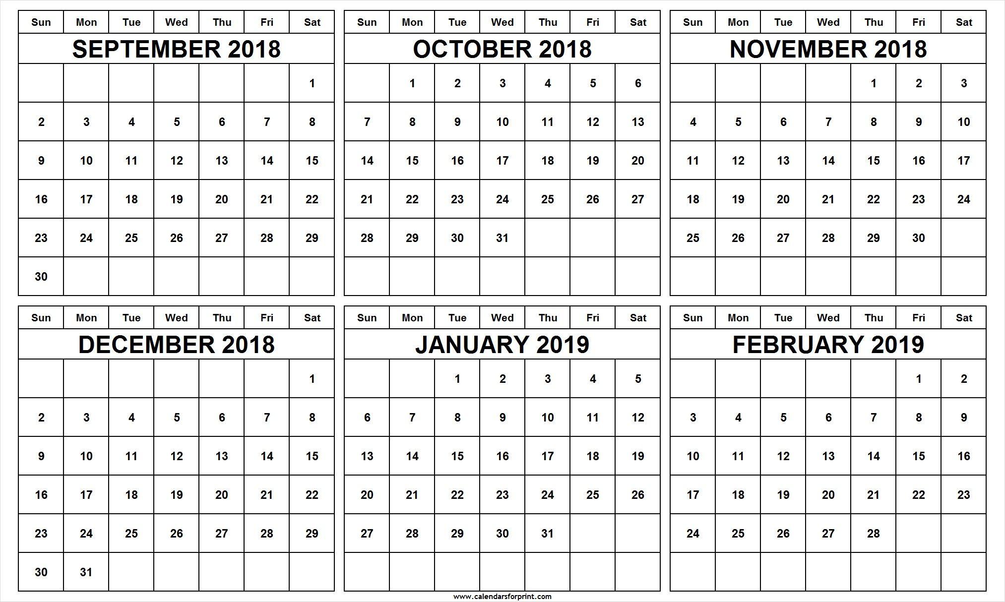 6 Month Calendar September October November December 2018