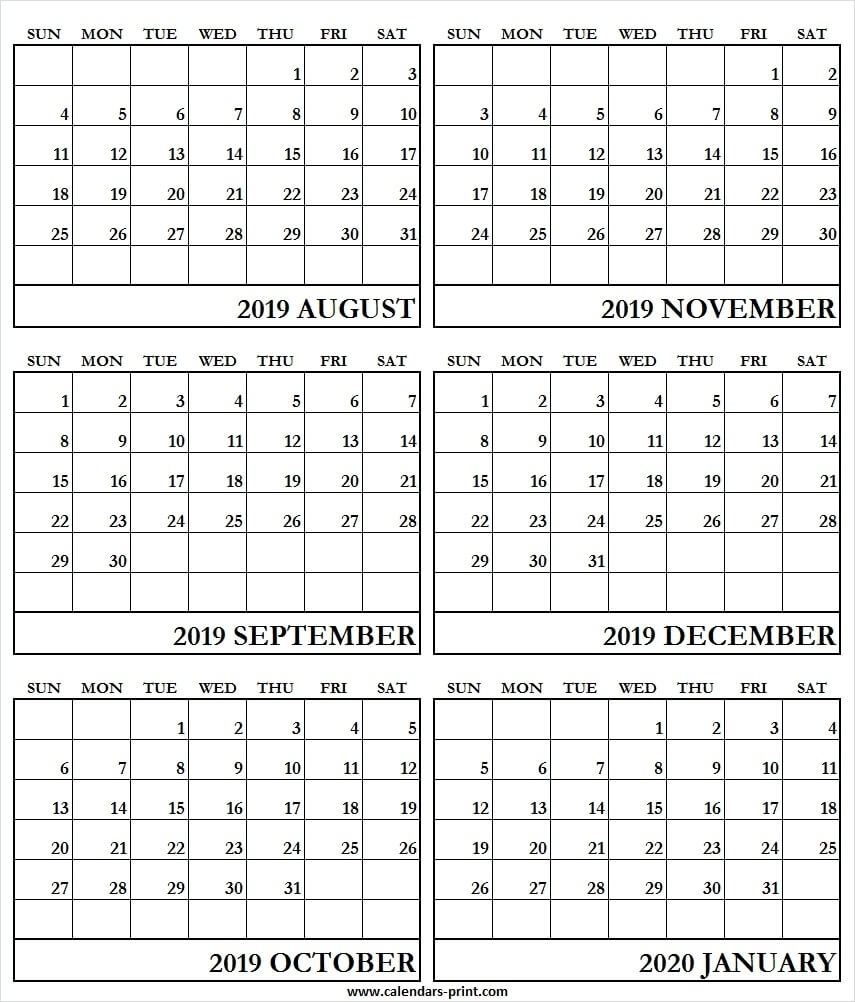 6 Month Calendar Template 2020 | Monthly Printable Calender