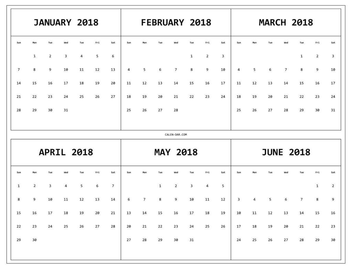 6 Month E Page Calendar 2018 Print Monthly Calendar