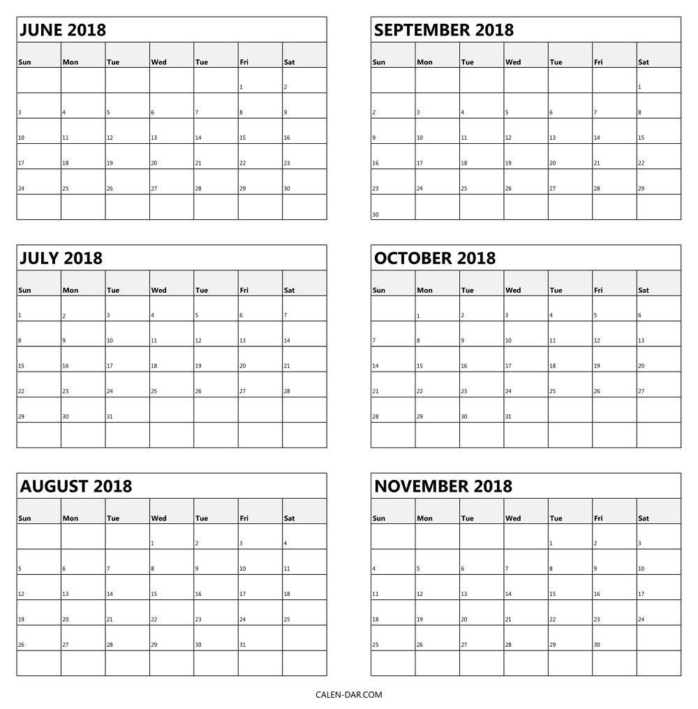 6 Monthly Calendar 2018 June To November Template | Calendar