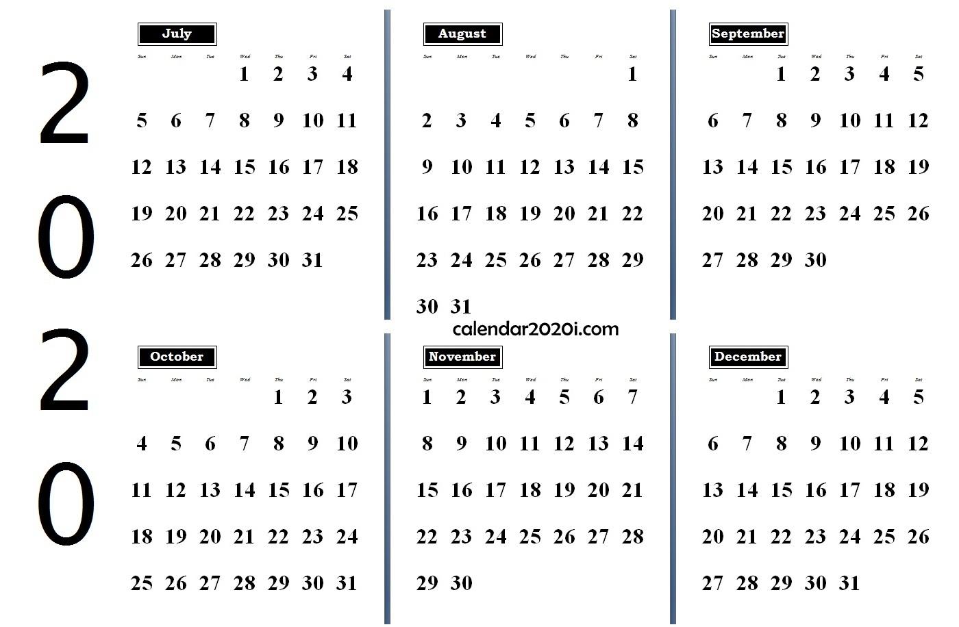 6 Months 2020 Half Year Printable Calendar   Calendar 2020