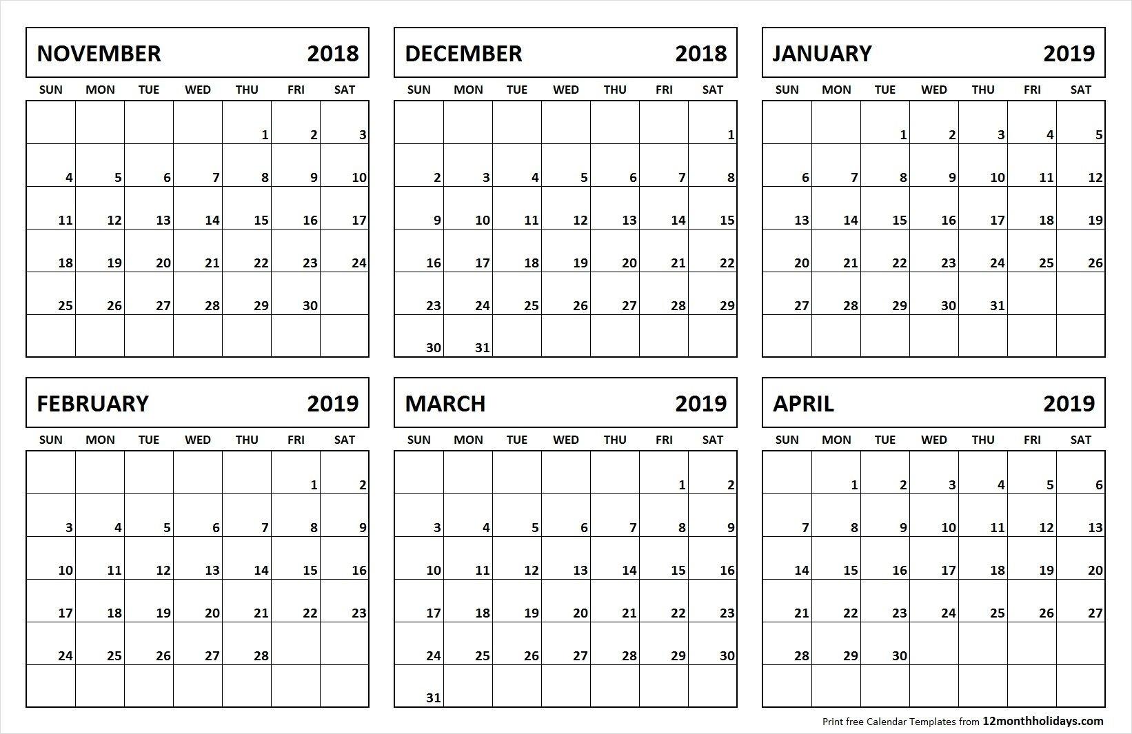 65E42 Printable Calendar 6 Months Per Page C Template