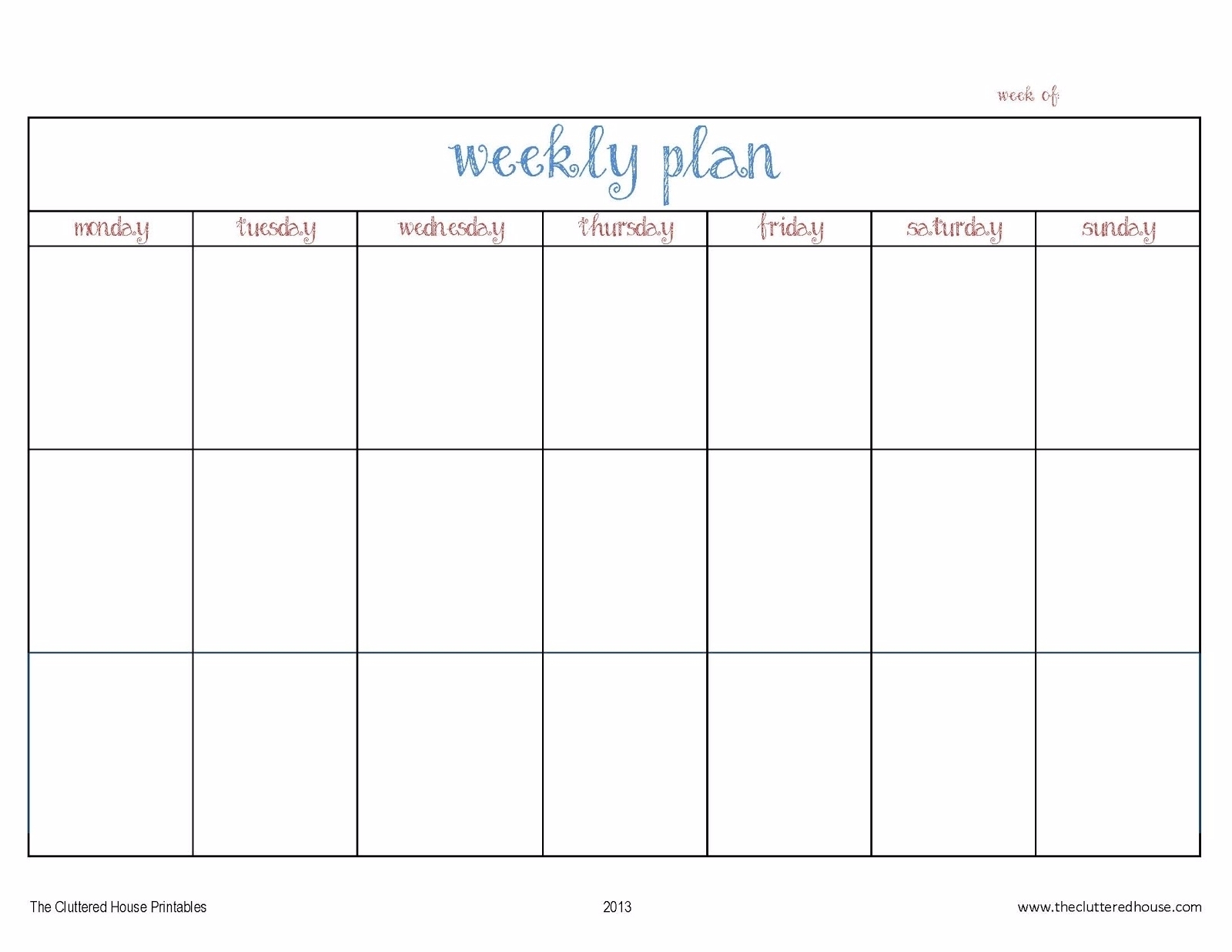 7 Day Weekly Planner Template Printable – Template Calendar