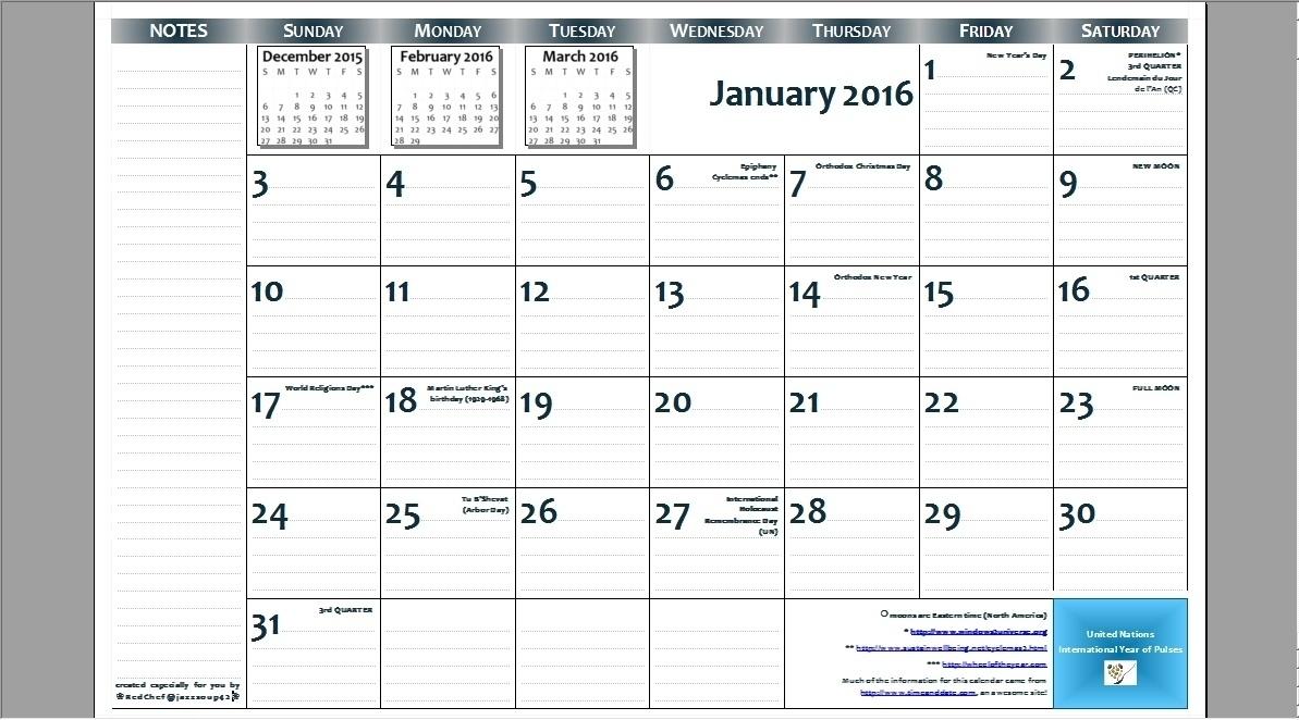 8.5 X 14 Calendar Template • Printable Blank Calendar