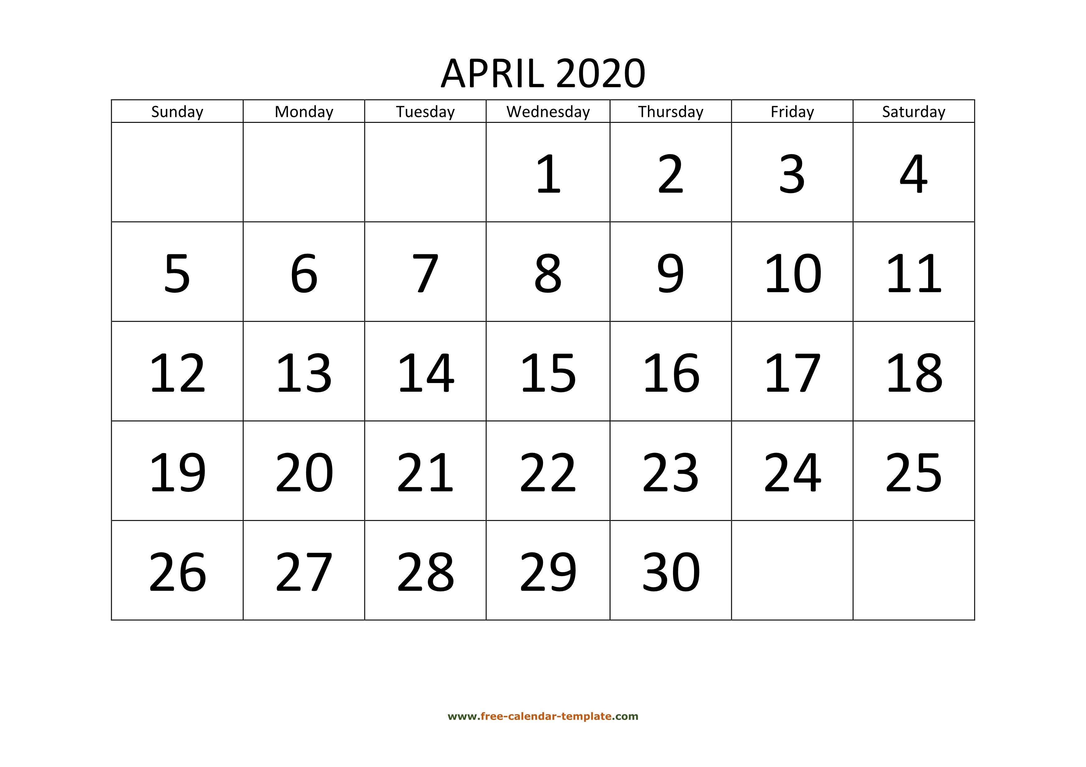 April 2020 Calendar Designed With Large Font (Horizontal