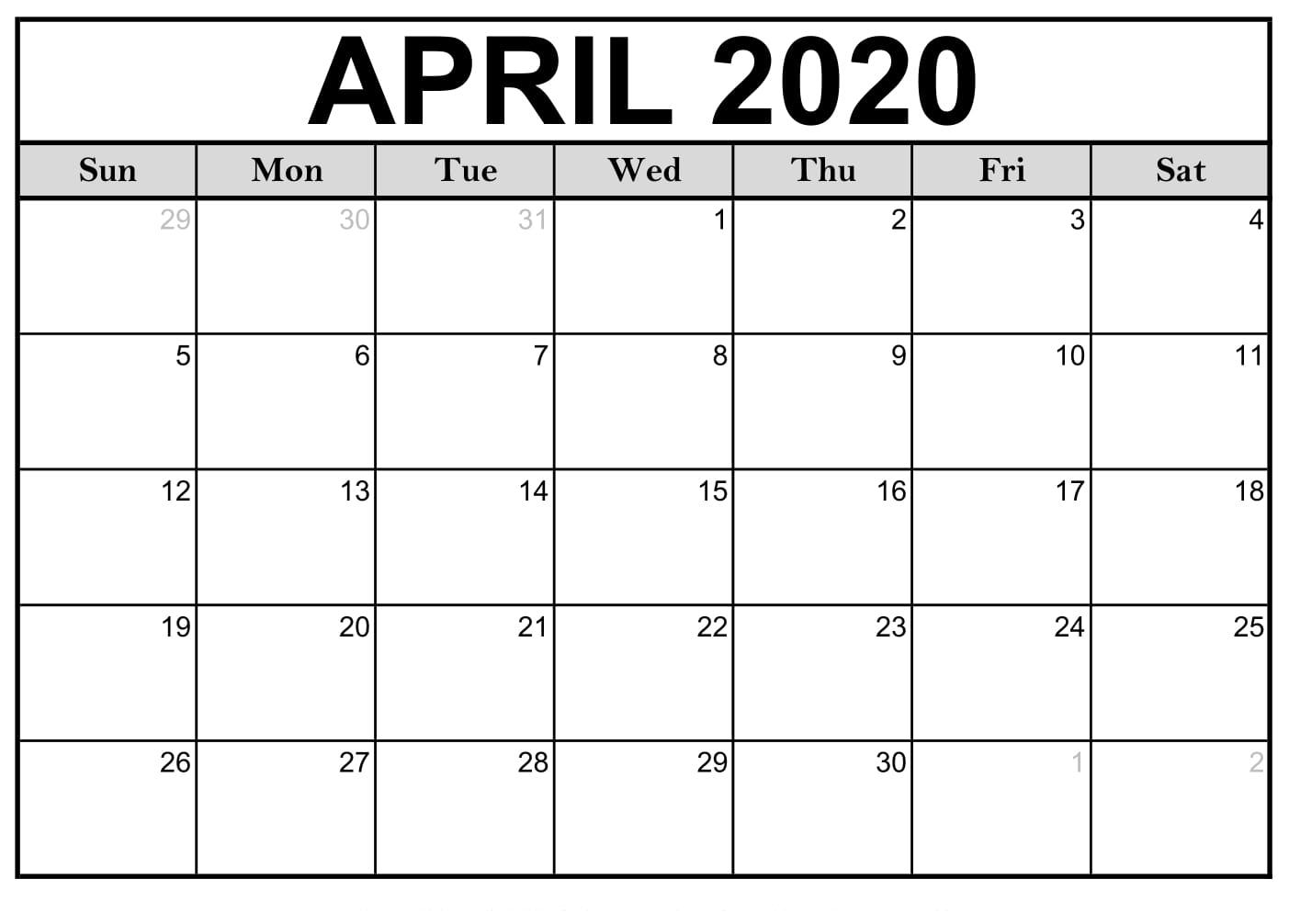 April 2020 Calendar Printable Office Planner Download | 12