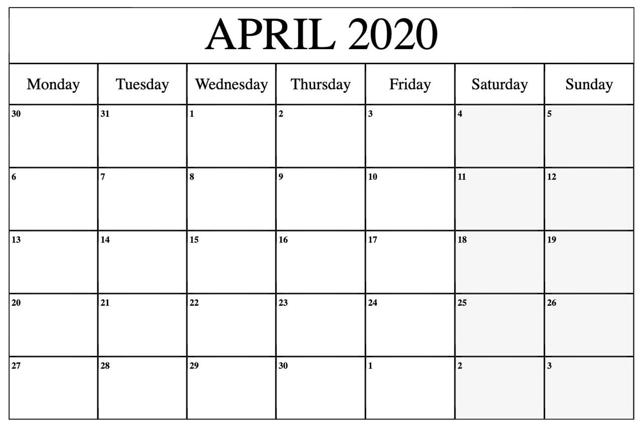 April 2020 Calendar Printable Template Planner | Printable