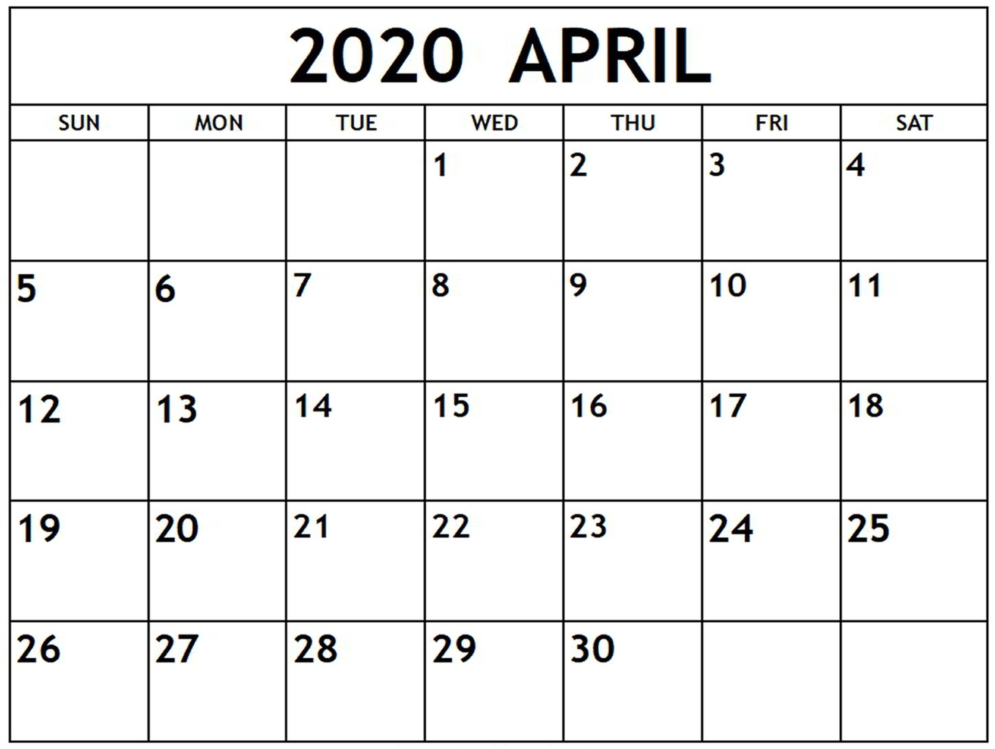 April 2020 Monthly Business Calendar | Free Printable