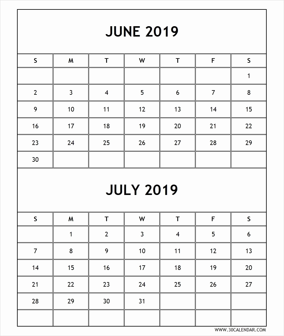 April May June July 2019 Calendar – Four Monthly Printable