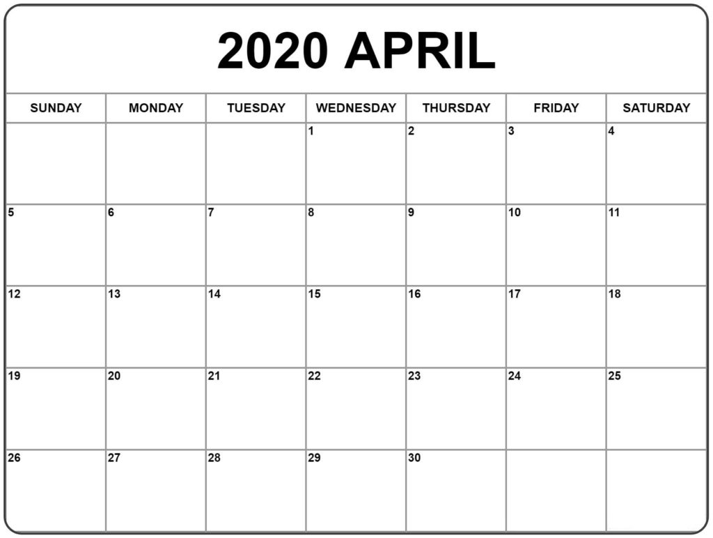 April Printable Calendar 2020 (Free Templates) – 2020 Free