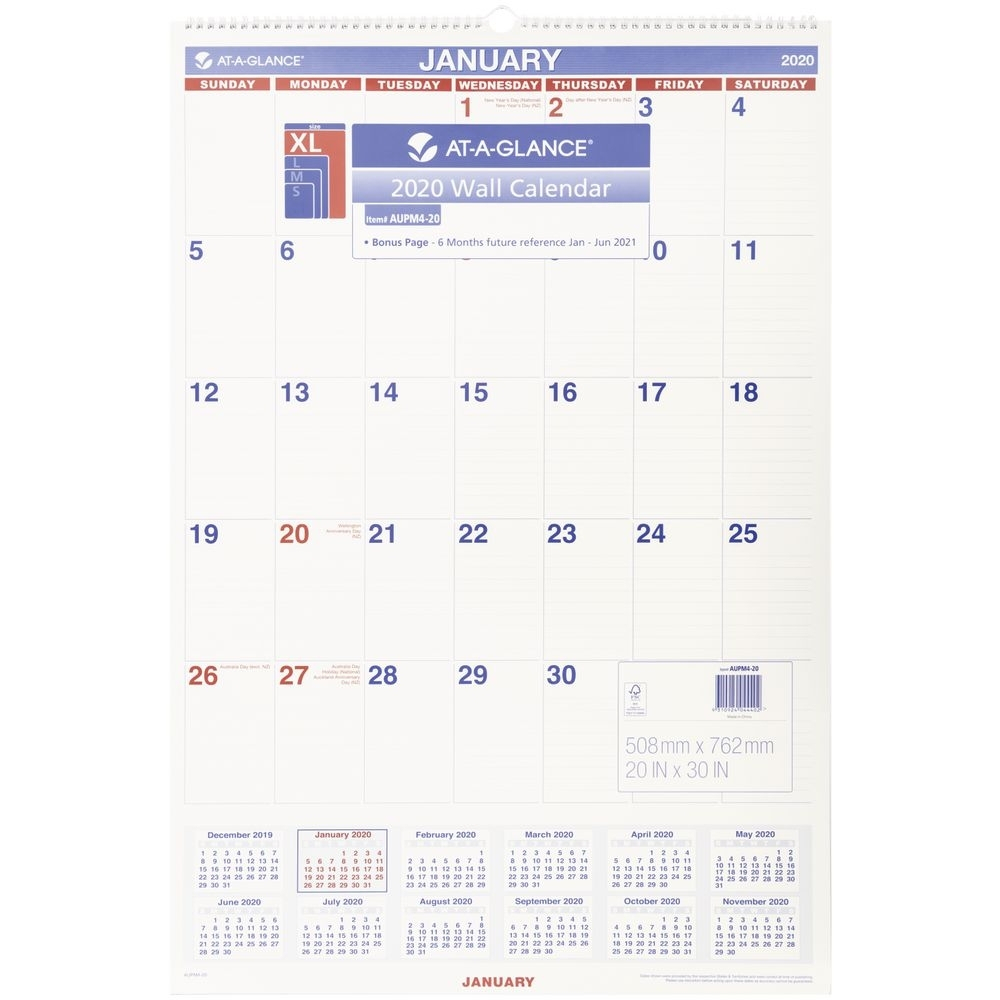 At A Glance Monthly Wall Calendar 2020 508 X 762Mm-At A