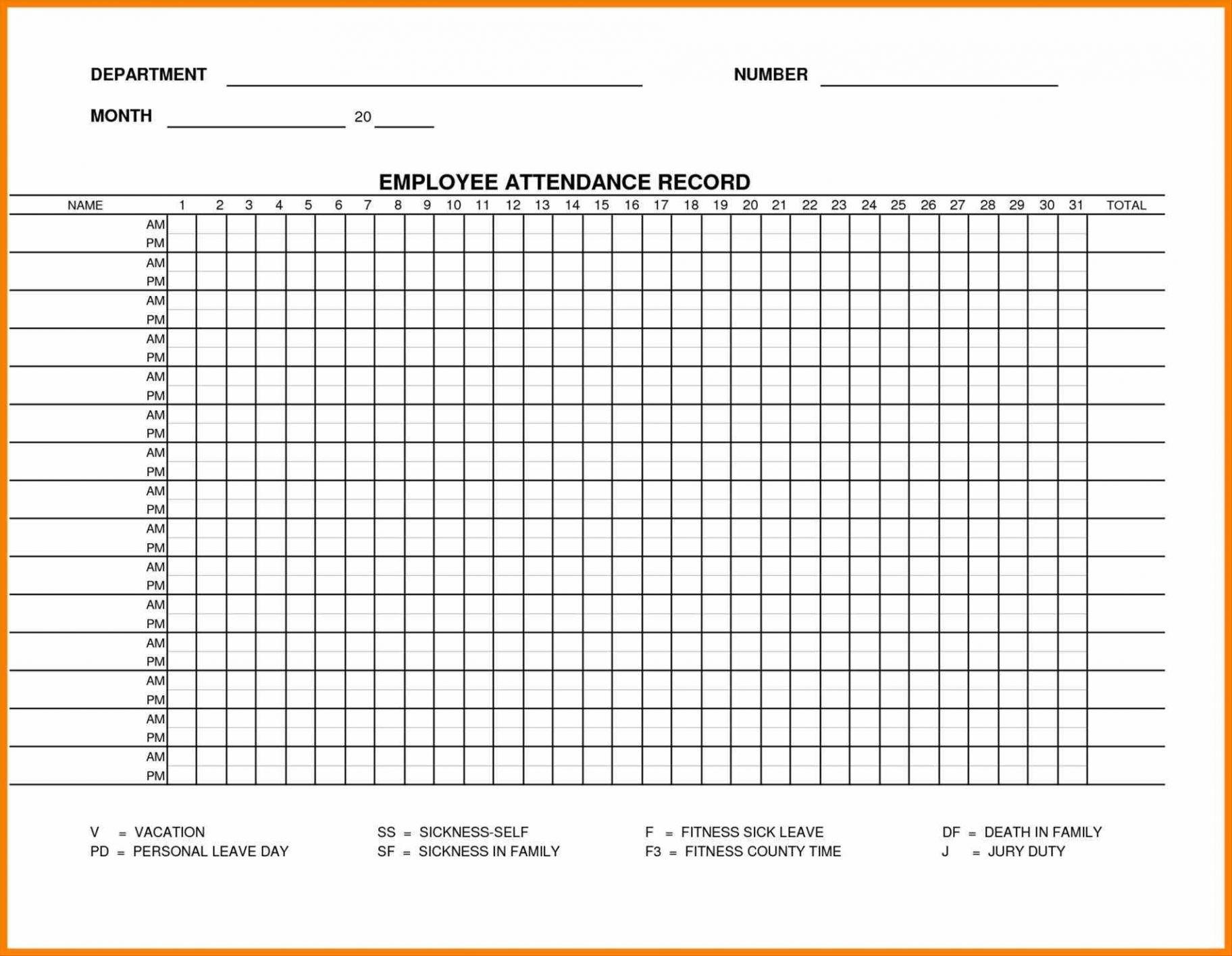 Attendance Point Ystem Preadsheet Printable Employee Heet