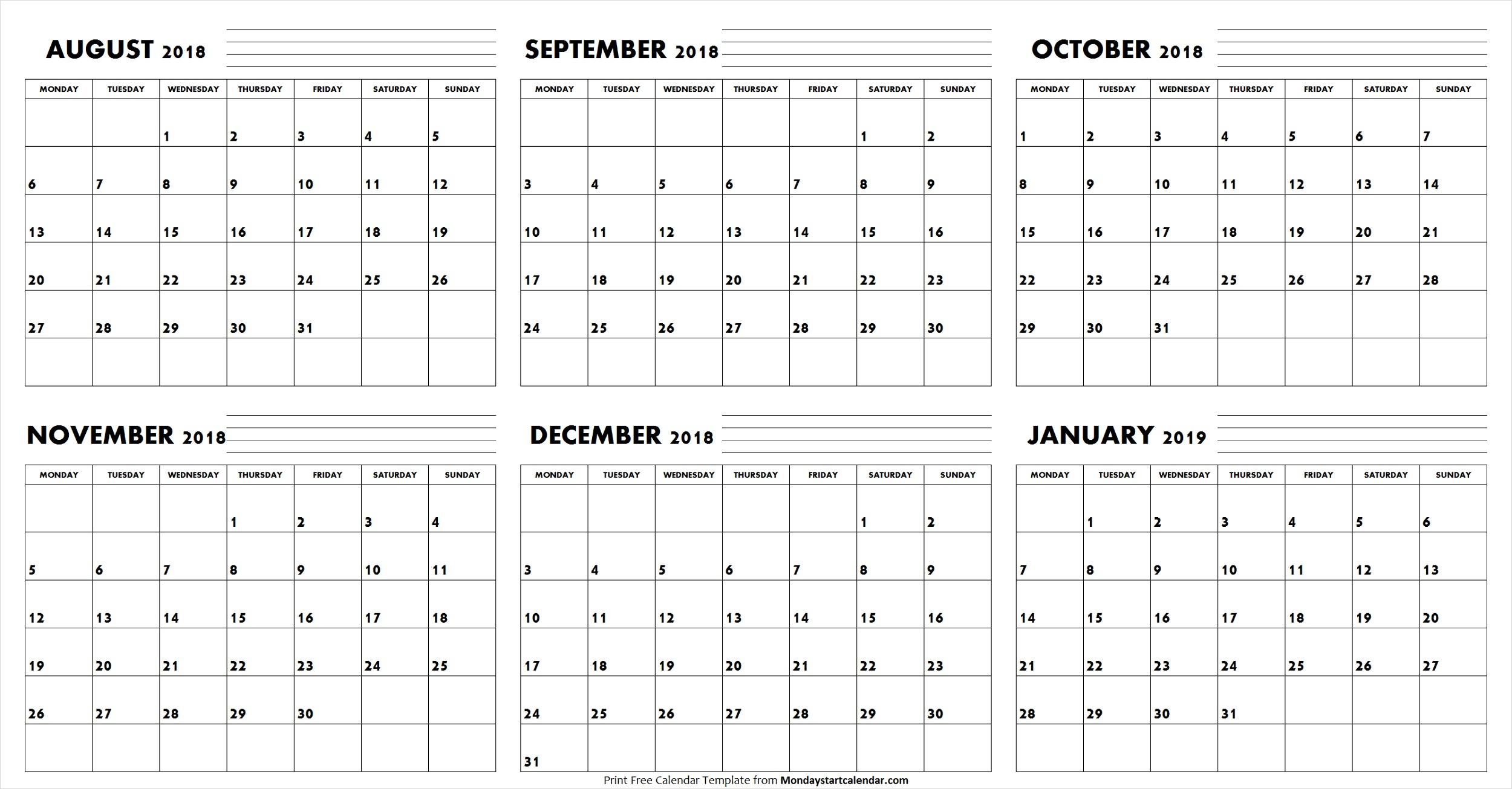 Aug Sep Oct Nov Dec 2018 Jan 2019 Calendar | Editable Template