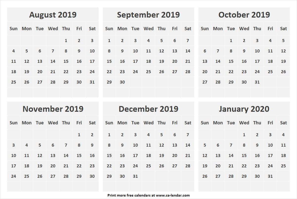 Aug Sep Oct Nov Dec 2019 Jan 2020 Calendar | Six Months Calendar