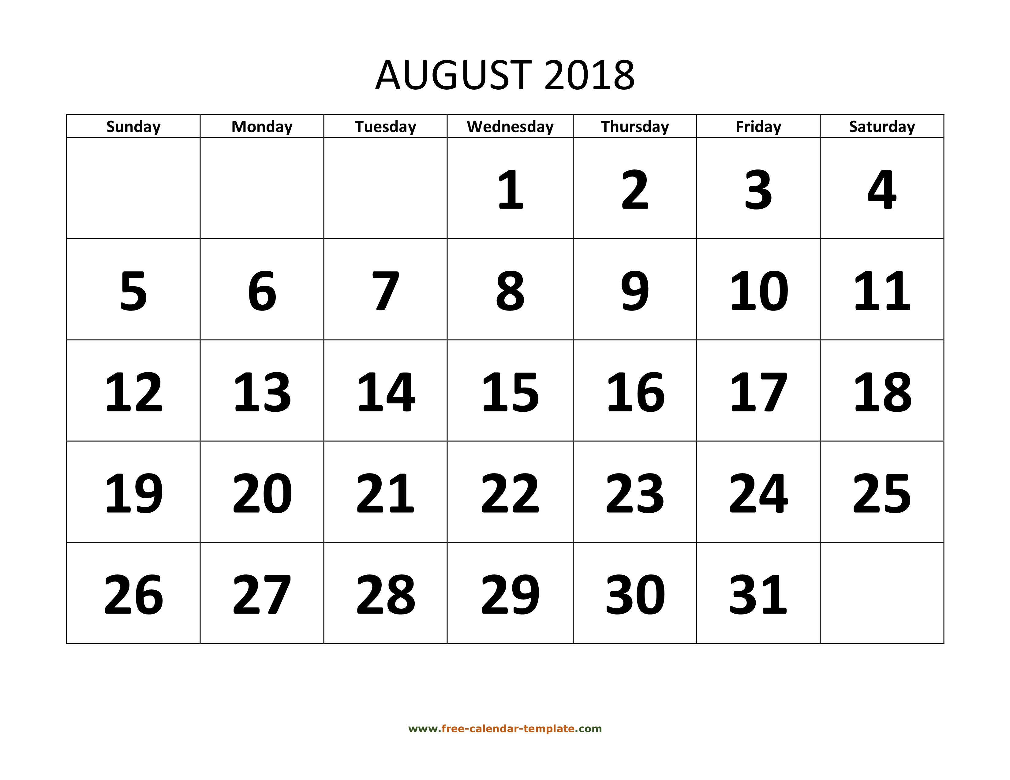August 2018 Calendar Designed With Large Font (Horizontal