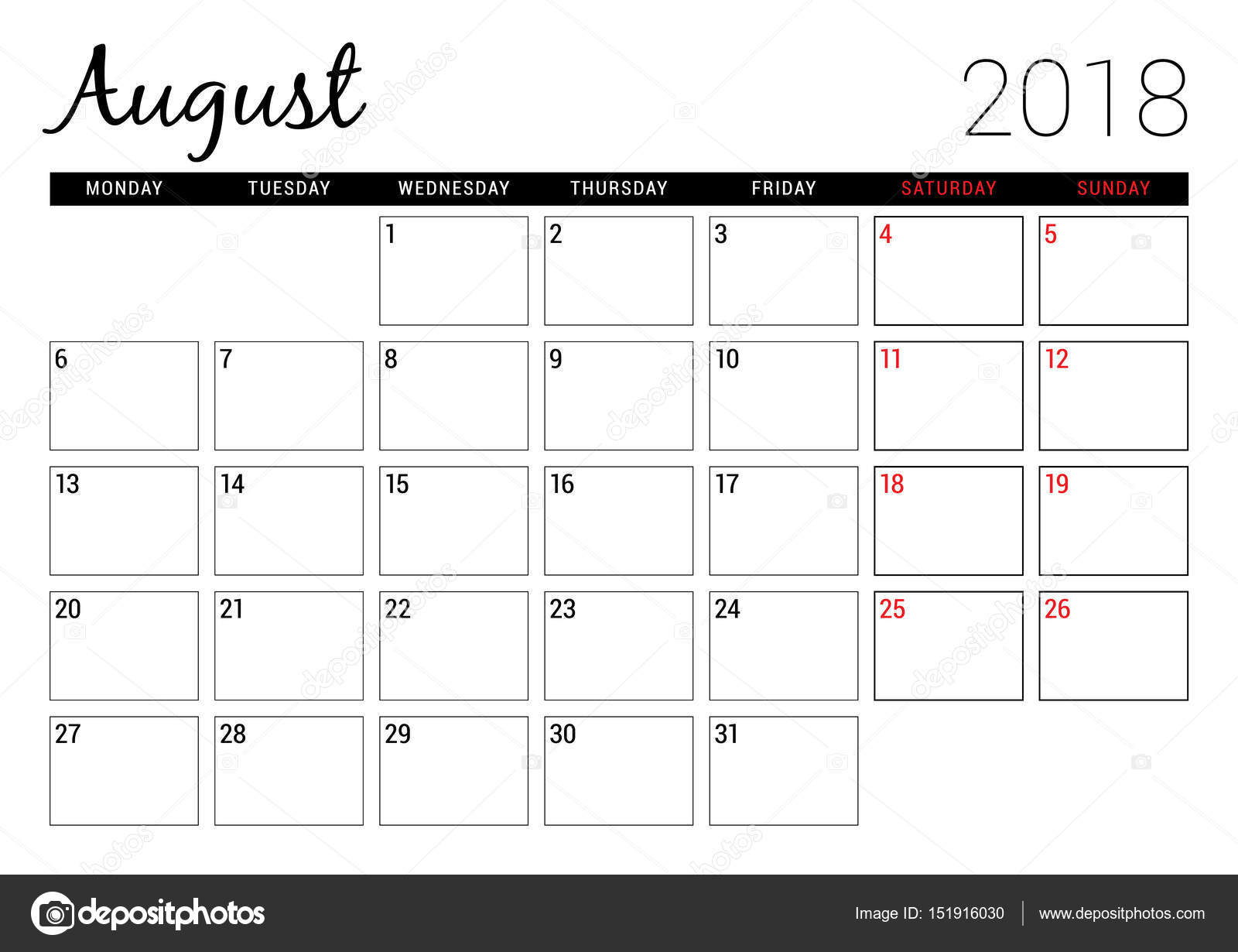 August 2018. Printable Calendar Planner Design Template