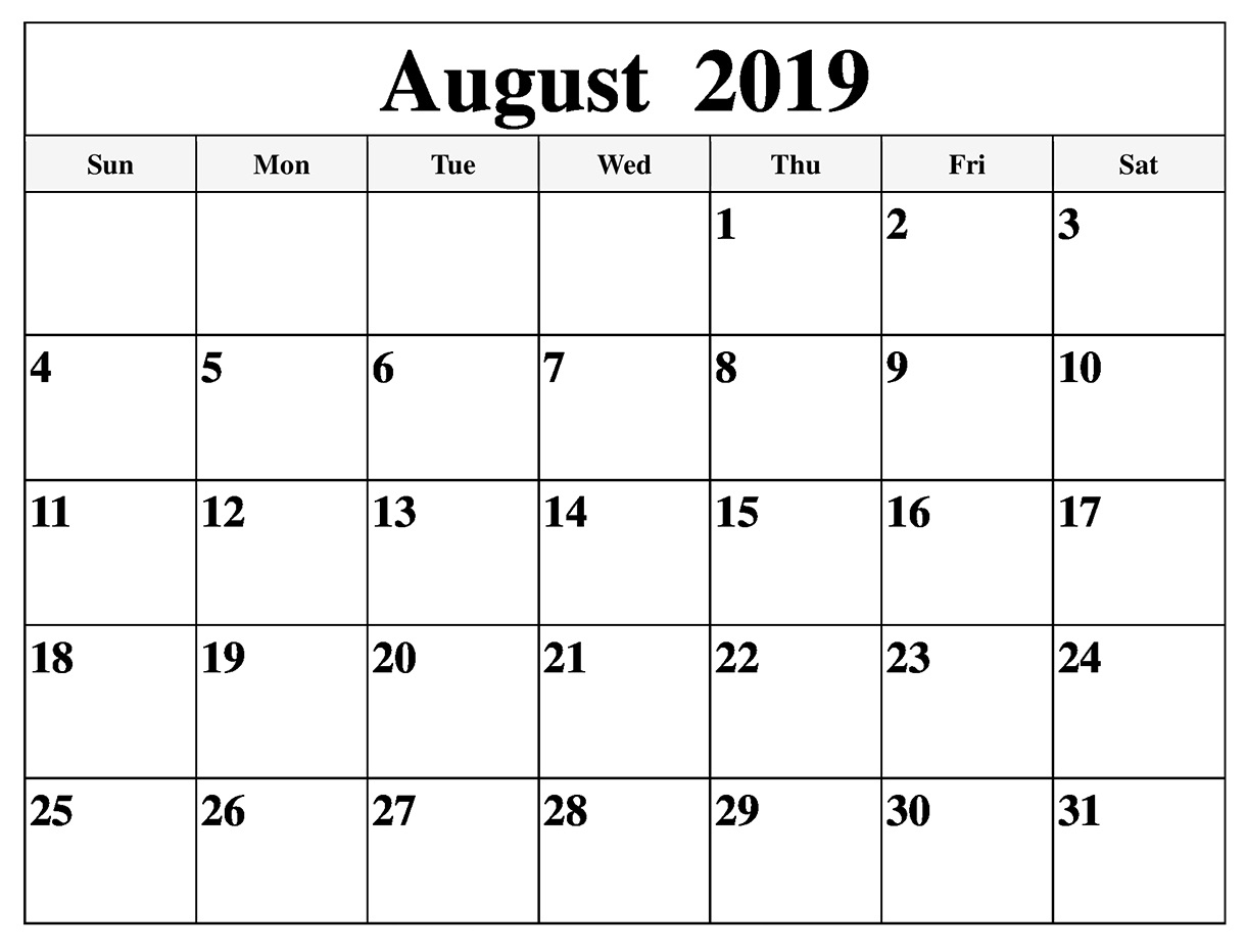 August 2019 Blank Calendar Print Weekly And Monthly - Latest