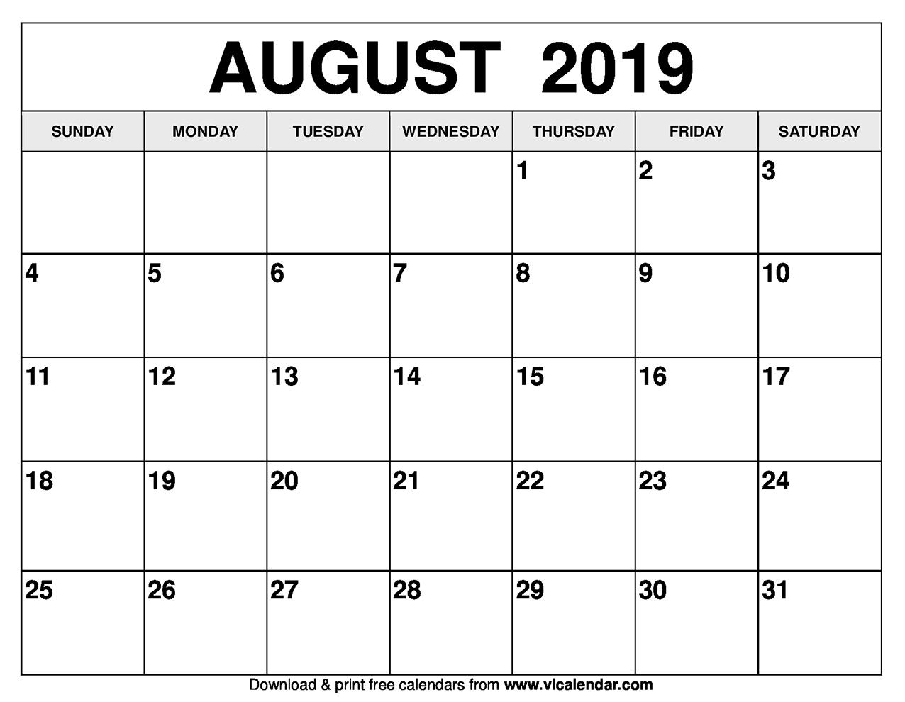 August 2019 Calendar Printable Templates