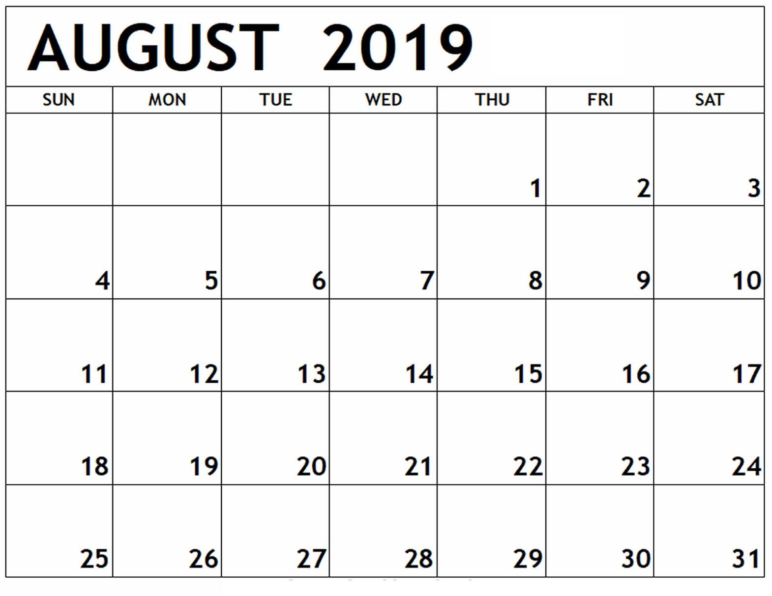August 2019 Calendar Printable Worksheet | Free Printable