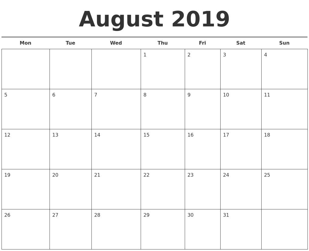 August 2019 Free Calendar Template