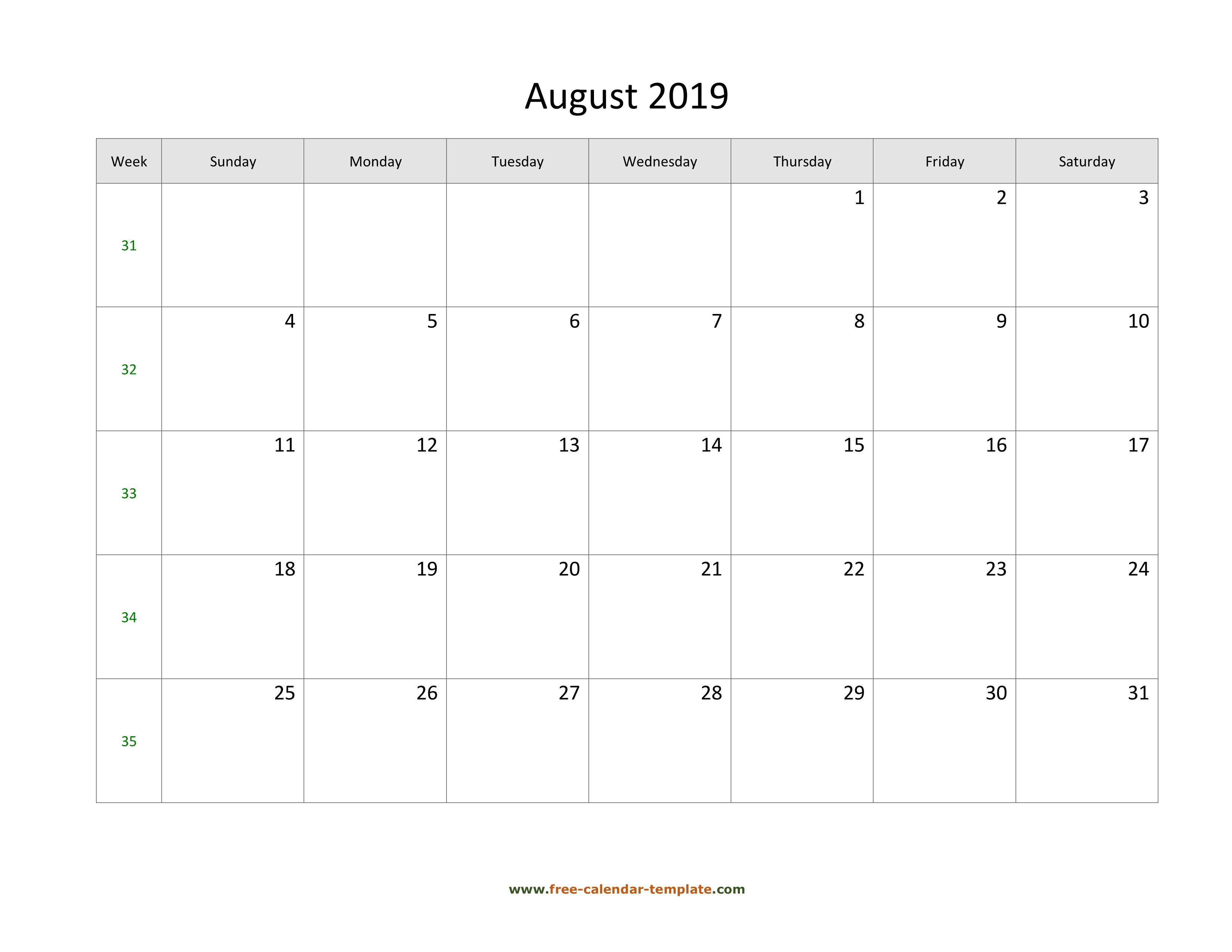 August 2019 Free Calendar Tempplate | Free-Calendar-Template