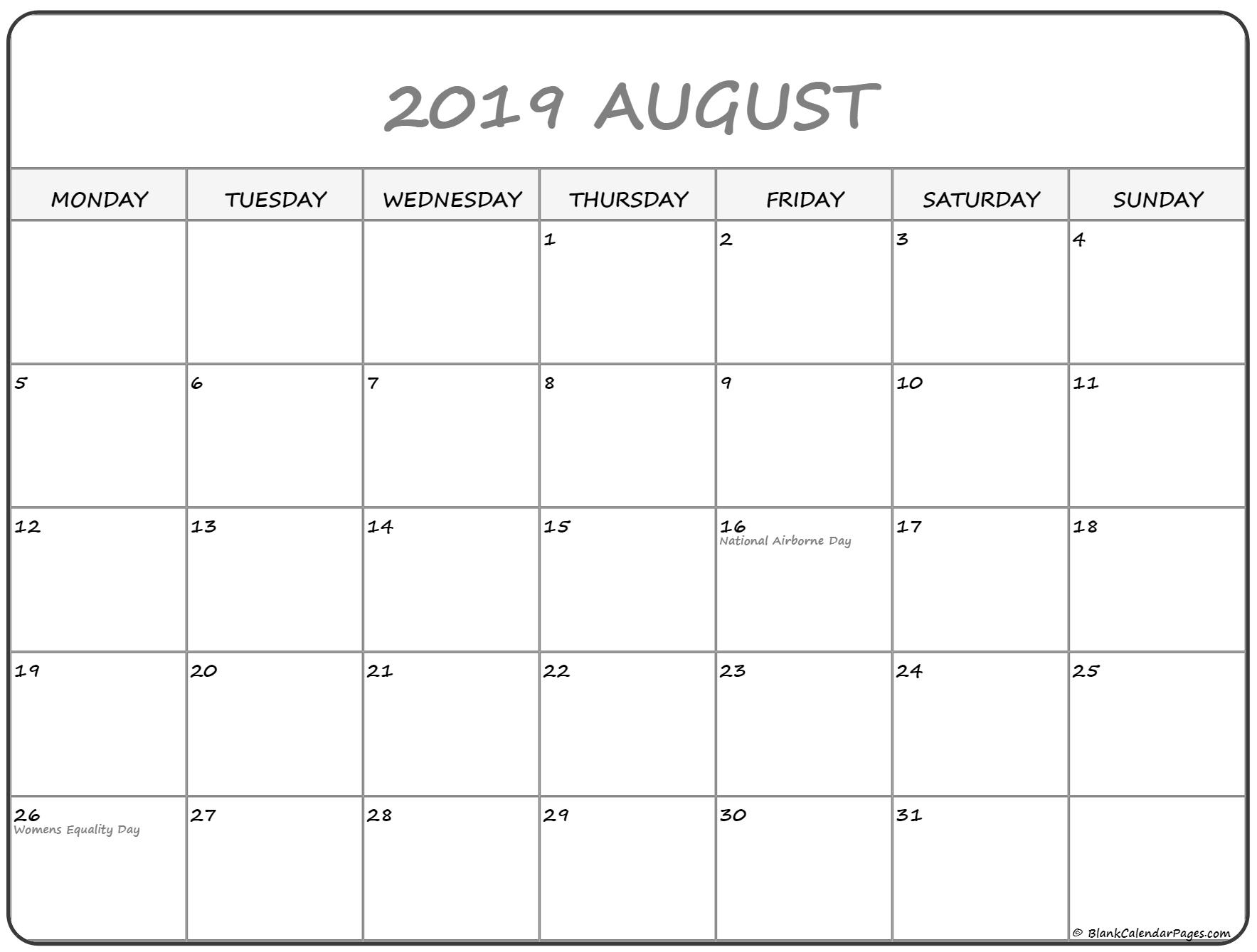 August 2019 Monday Calendar | Monday To Sunday
