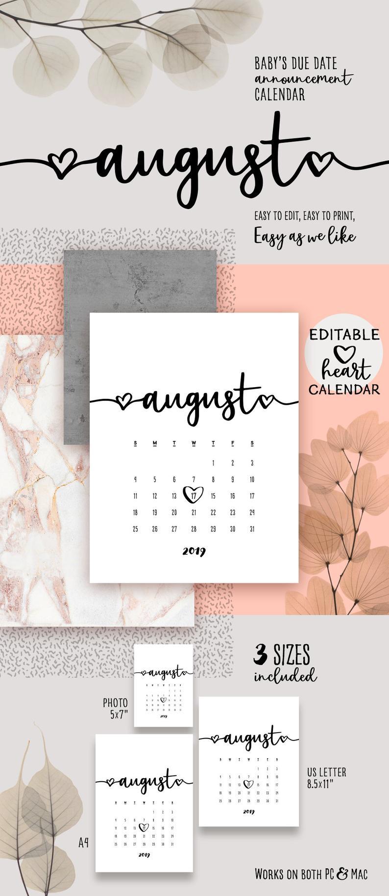 August 2019 Printable Calendar - Lovely Baby Due Date Announcement  Pregnancy Calendar Heart Pdf Reveal Baby Announce Diy Printable Calendar