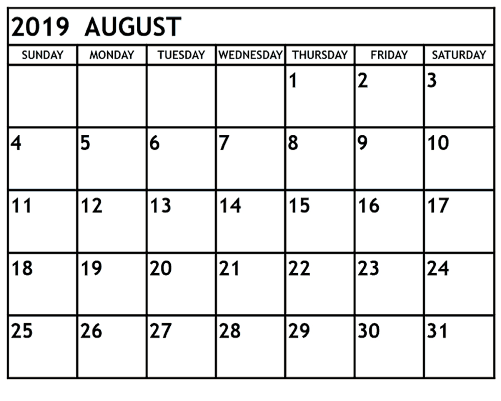 August 2019 Printable Calendar Pdf And Word | Printable