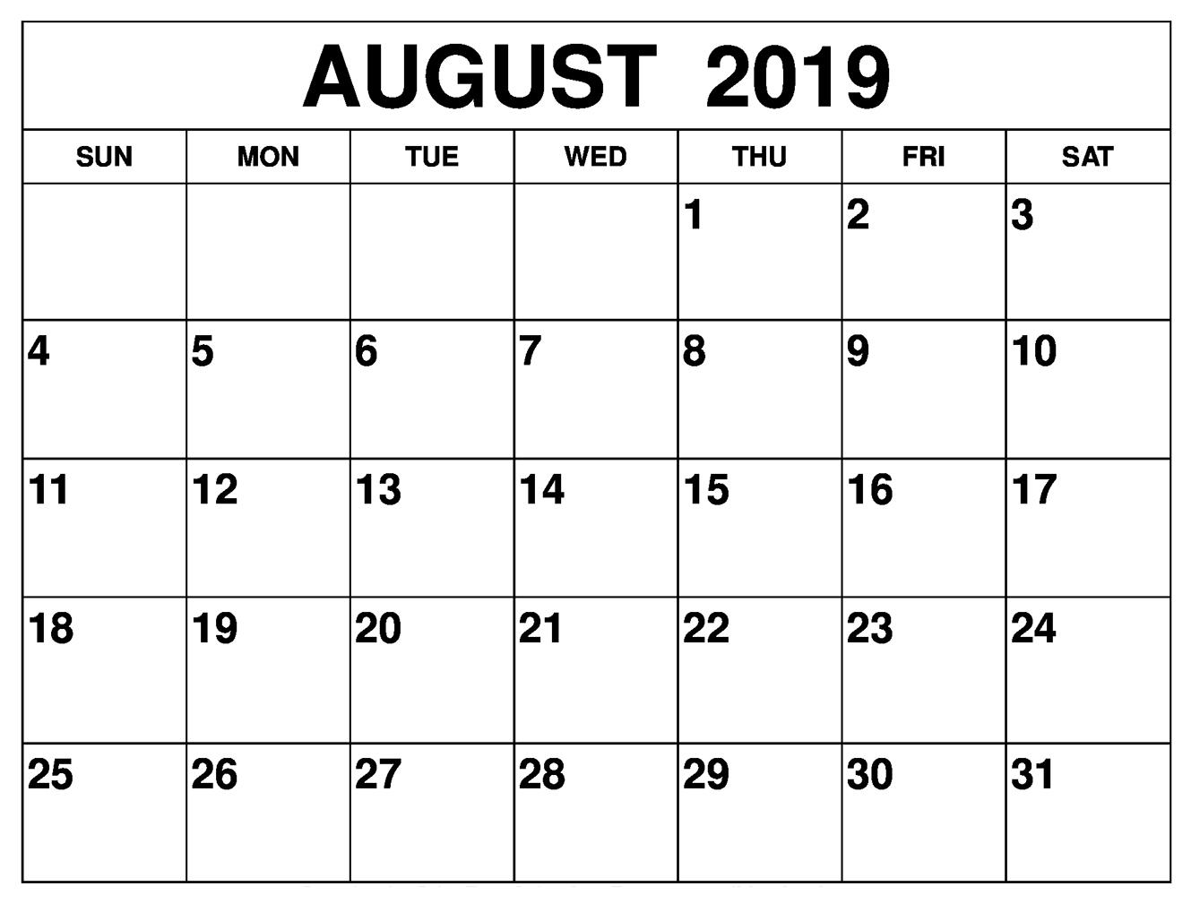 August 2019 Printable Calendar Template | 12 Month Printable