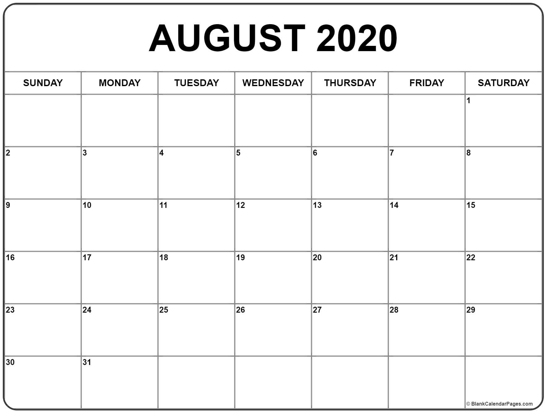 August 2020 Calendar | August Calendar, Blank Calendar