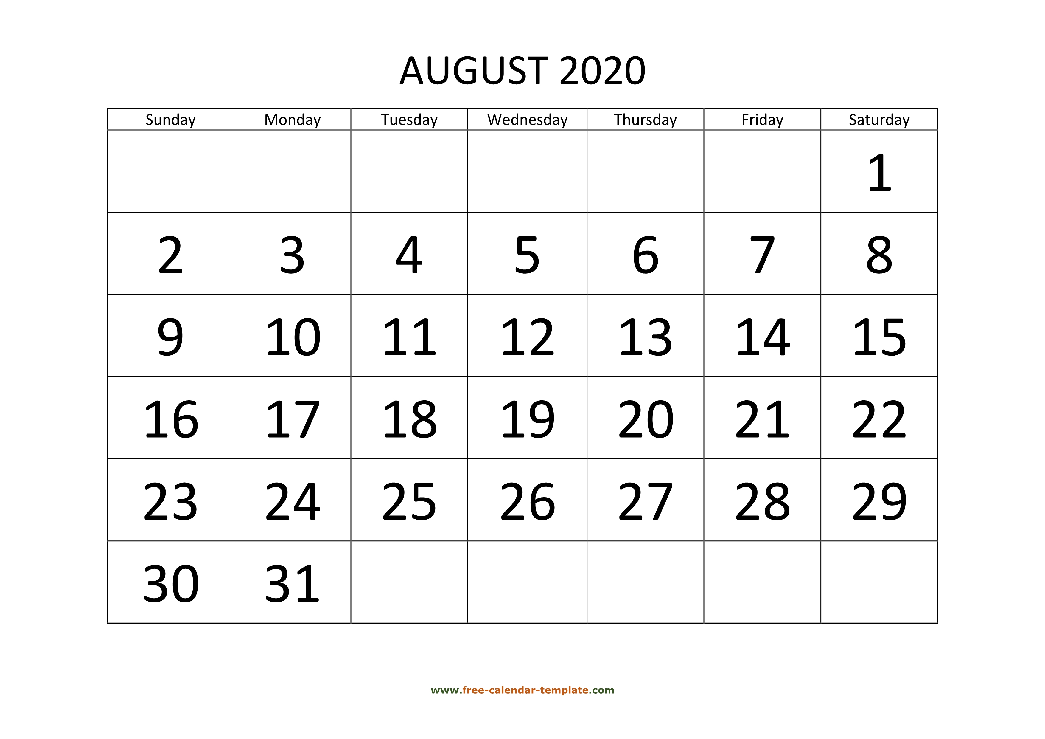 August 2020 Calendar Designed With Large Font (Horizontal