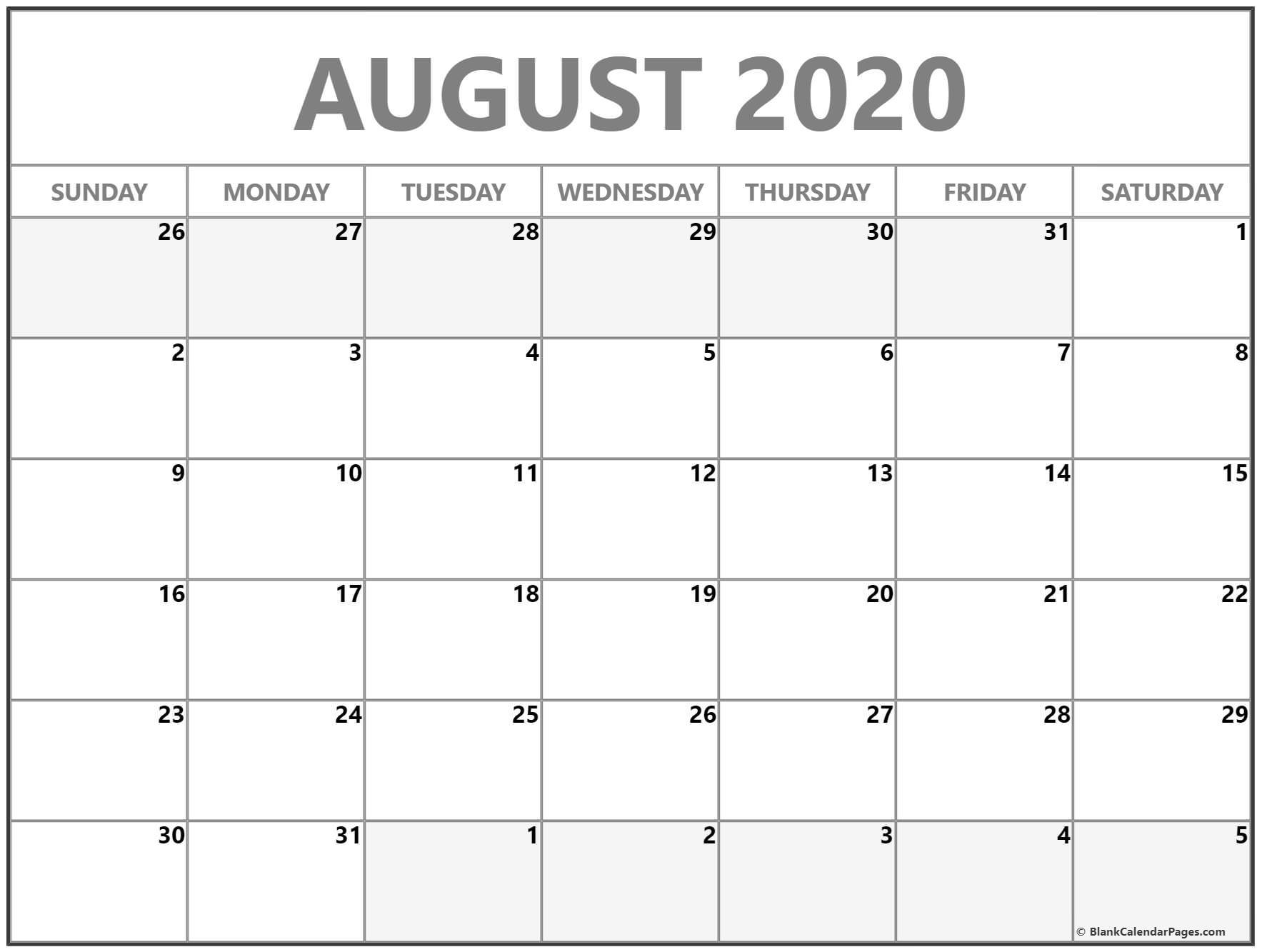 August 2020 Calendar | Free Printable Monthly Calendars
