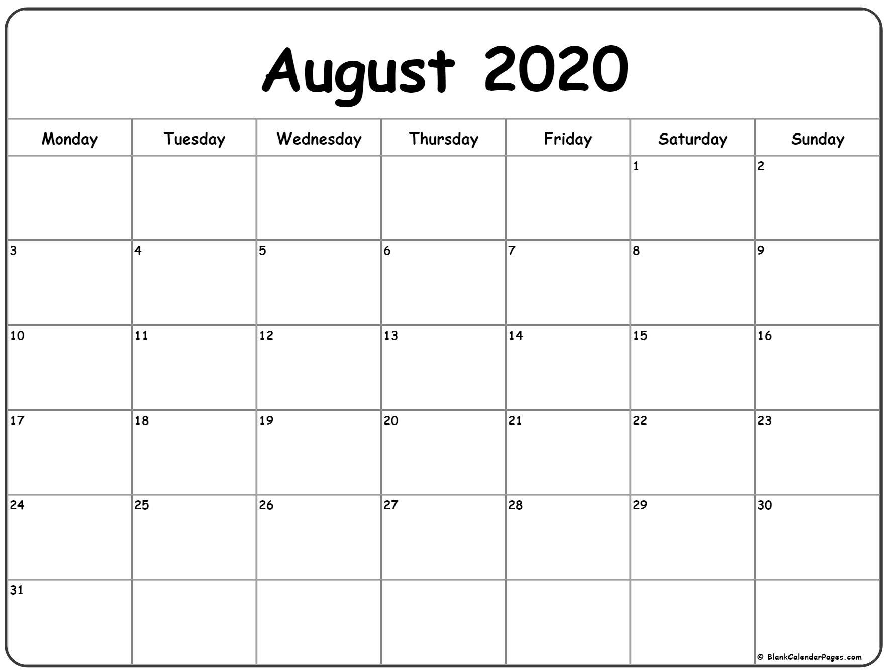 August 2020 Monday Calendar | Monday To Sunday