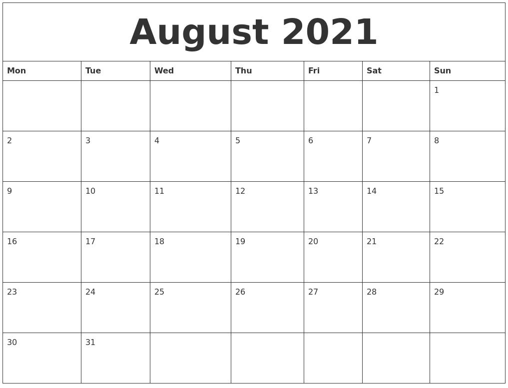 August 2021 Free Printable Weekly Calendar