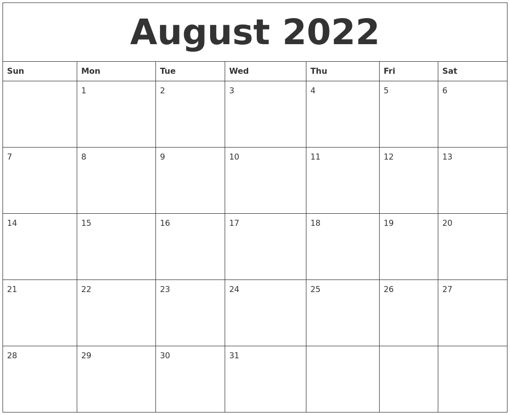 August 2022 Month Calendar Template