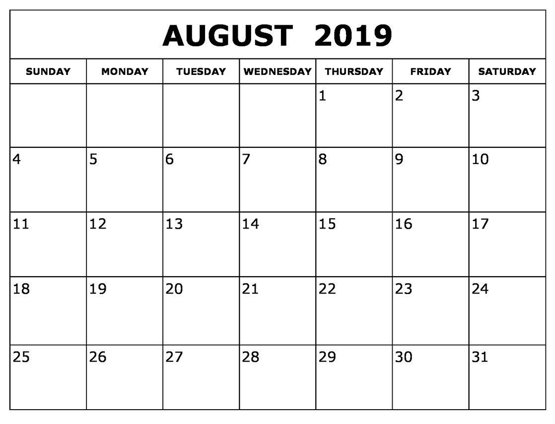 August Calendar 2019 Waterproof | Blank Calendar Template