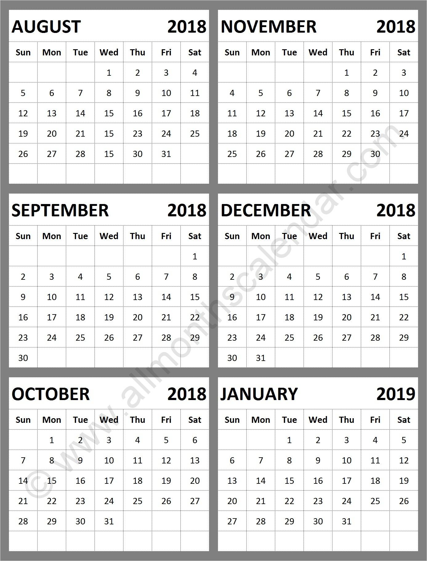 August September October November December 2018 January 2019