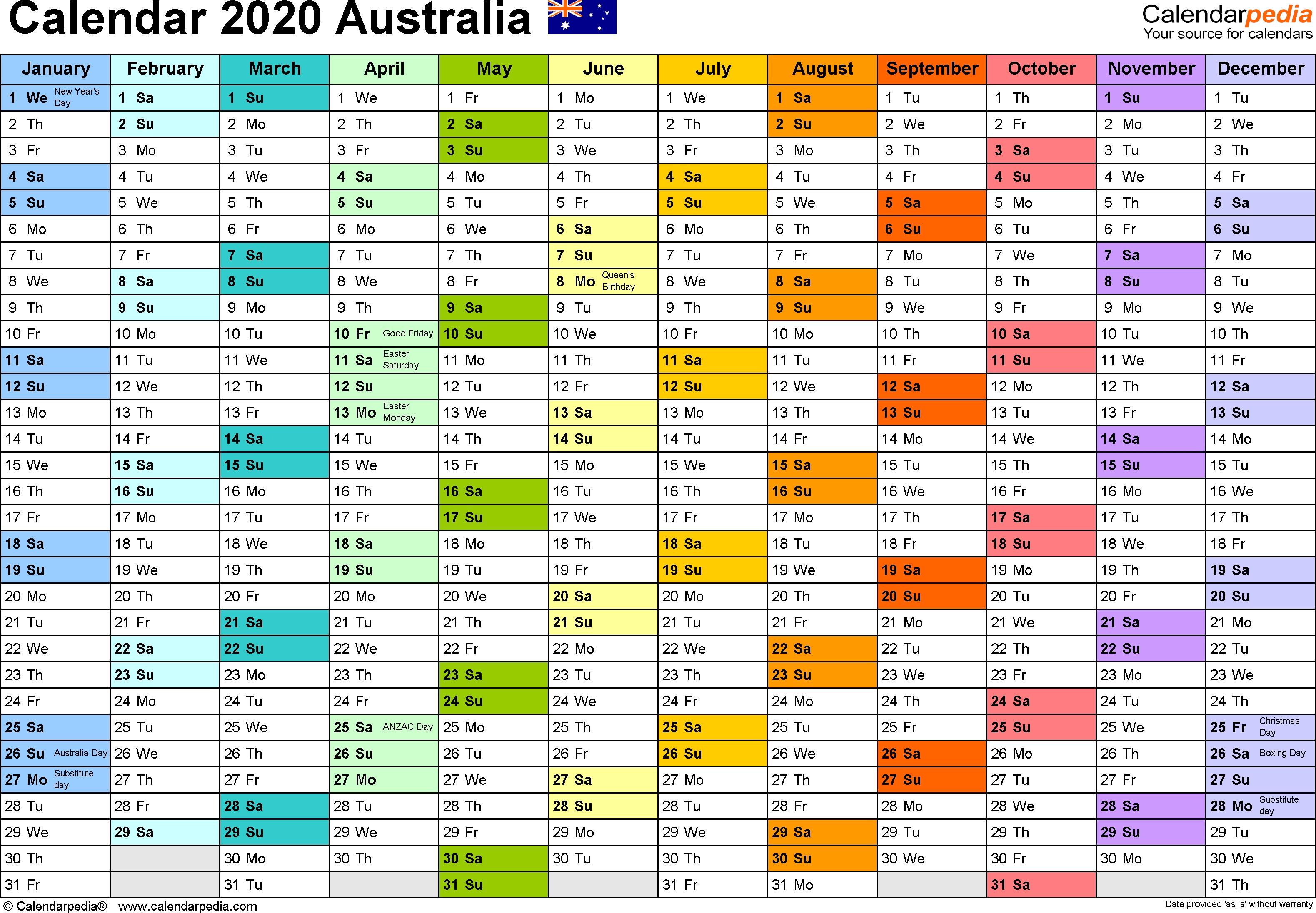 Australia Calendar 2020 – Free Printable Pdf Templates-2020
