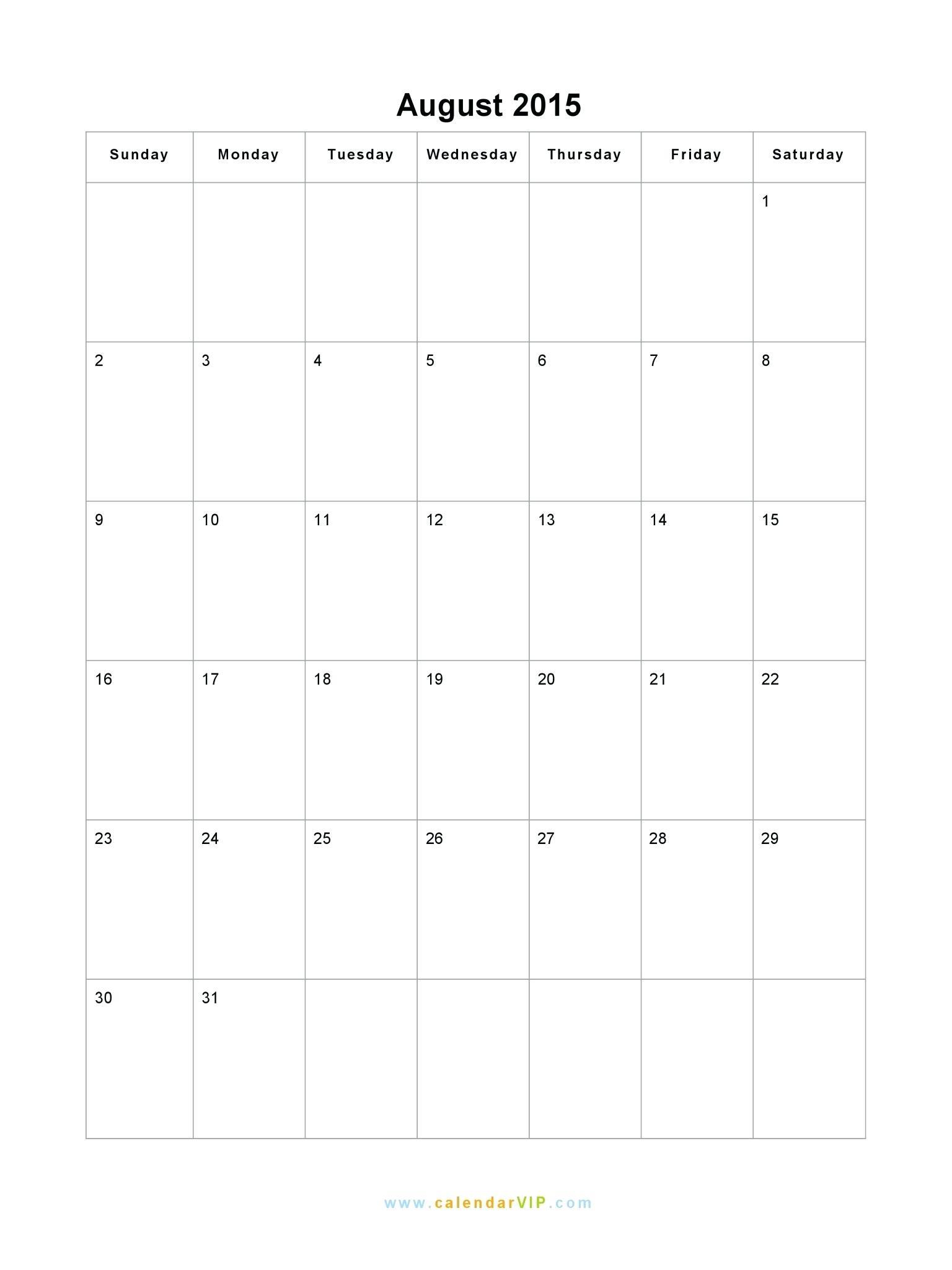 Best Coloring : August Calendar Blank Printable Template In