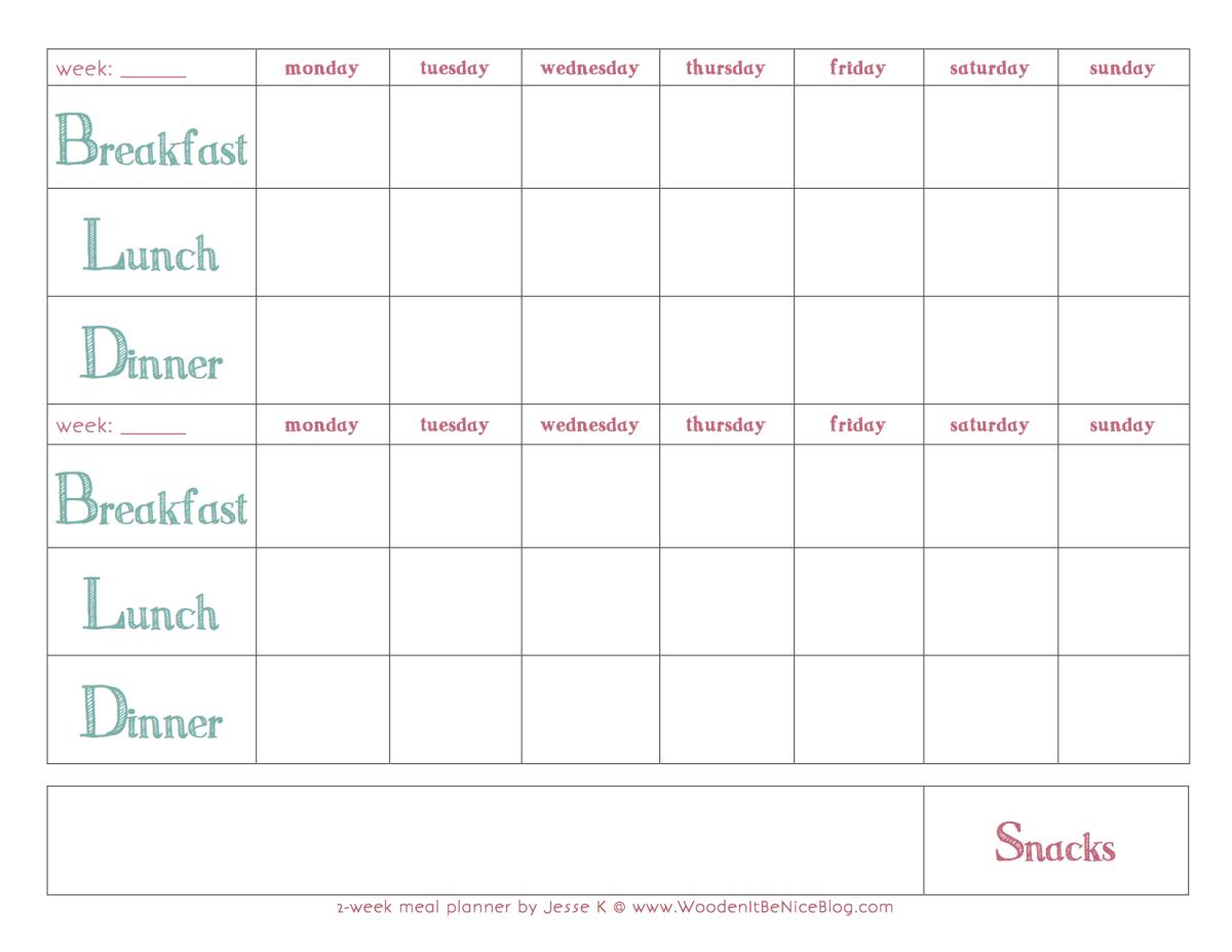 Bi-Weekly Meal Planning Template | Meal Planning Calendar