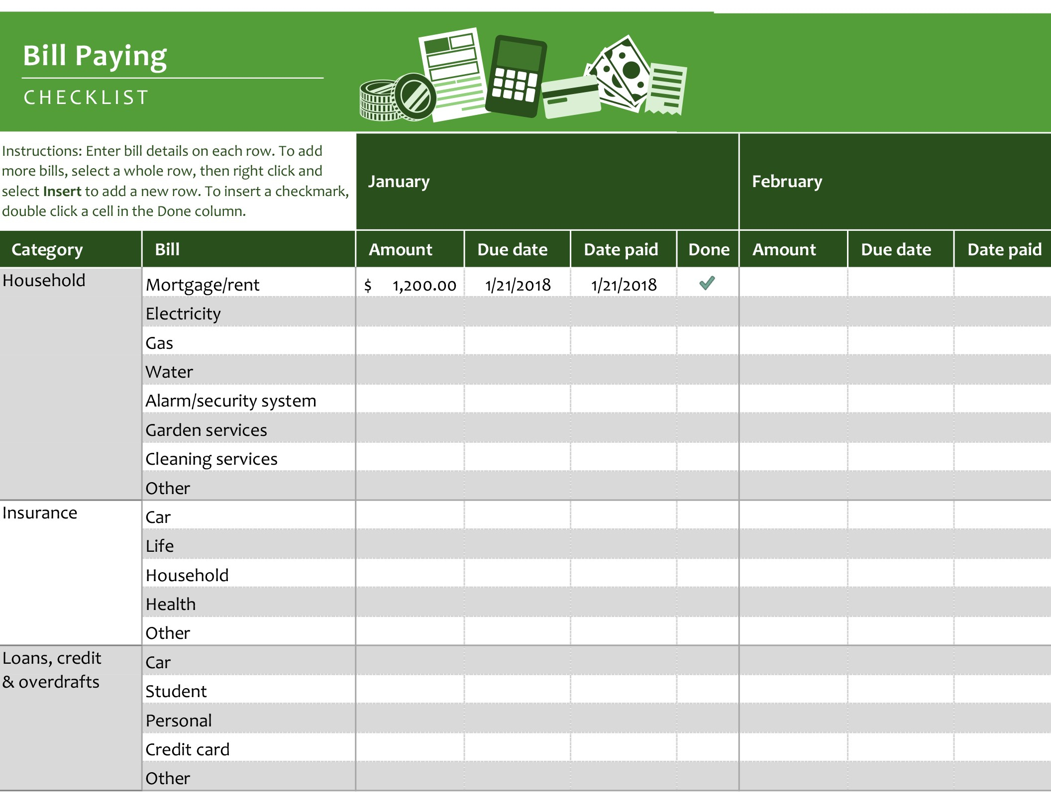 Bill Paying Checklist - Office Templates & Themes - Office 365