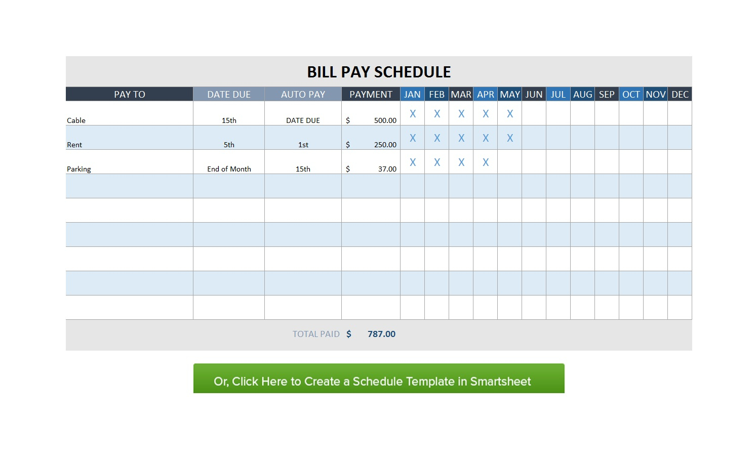 Bill Paying Spreadsheet Organizer Monthly Bills Paid Pay