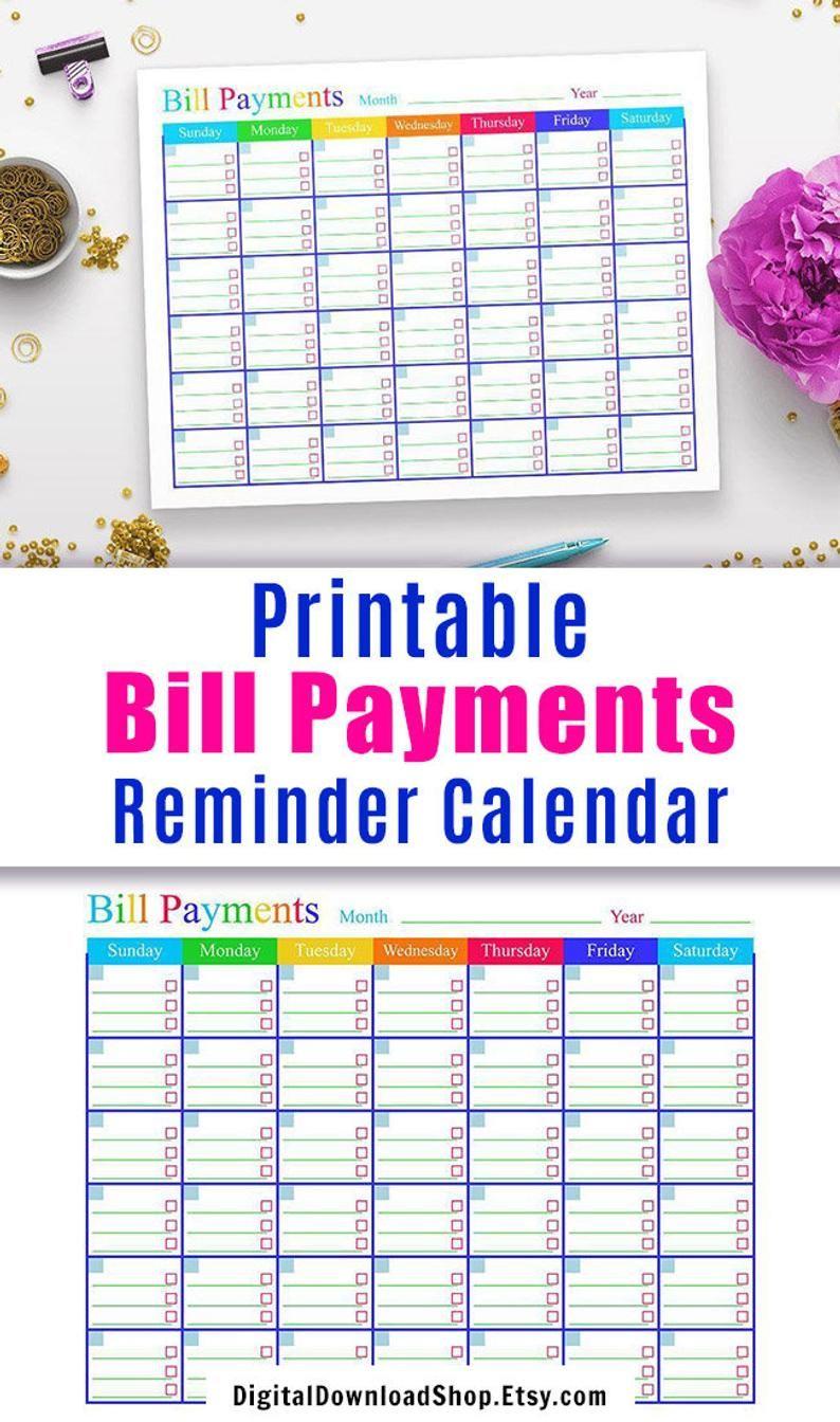 Bill Payments Calendar, Bills Tracker, Bill Calendar, Bills