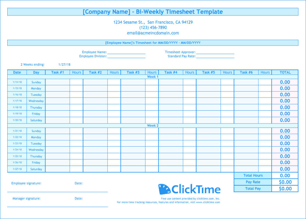 Biweekly Timesheet Template Excel – Business Form Letter