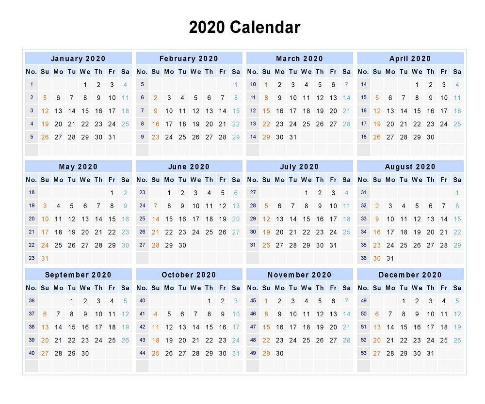 Blank 2020 12 Months Calendar | Monthly Calendar Template