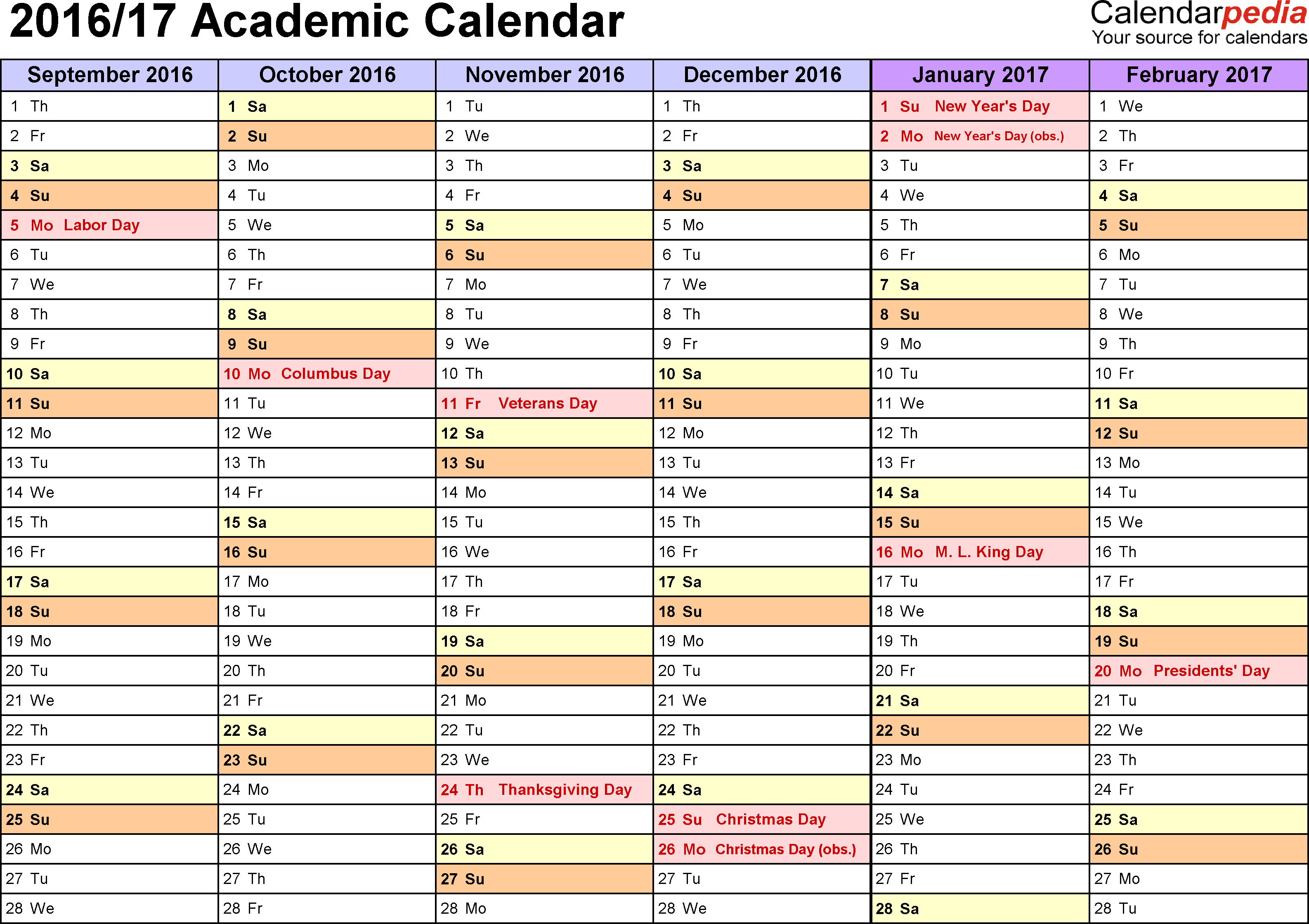 Blank Academic Calendar - Tunu.redmini.co