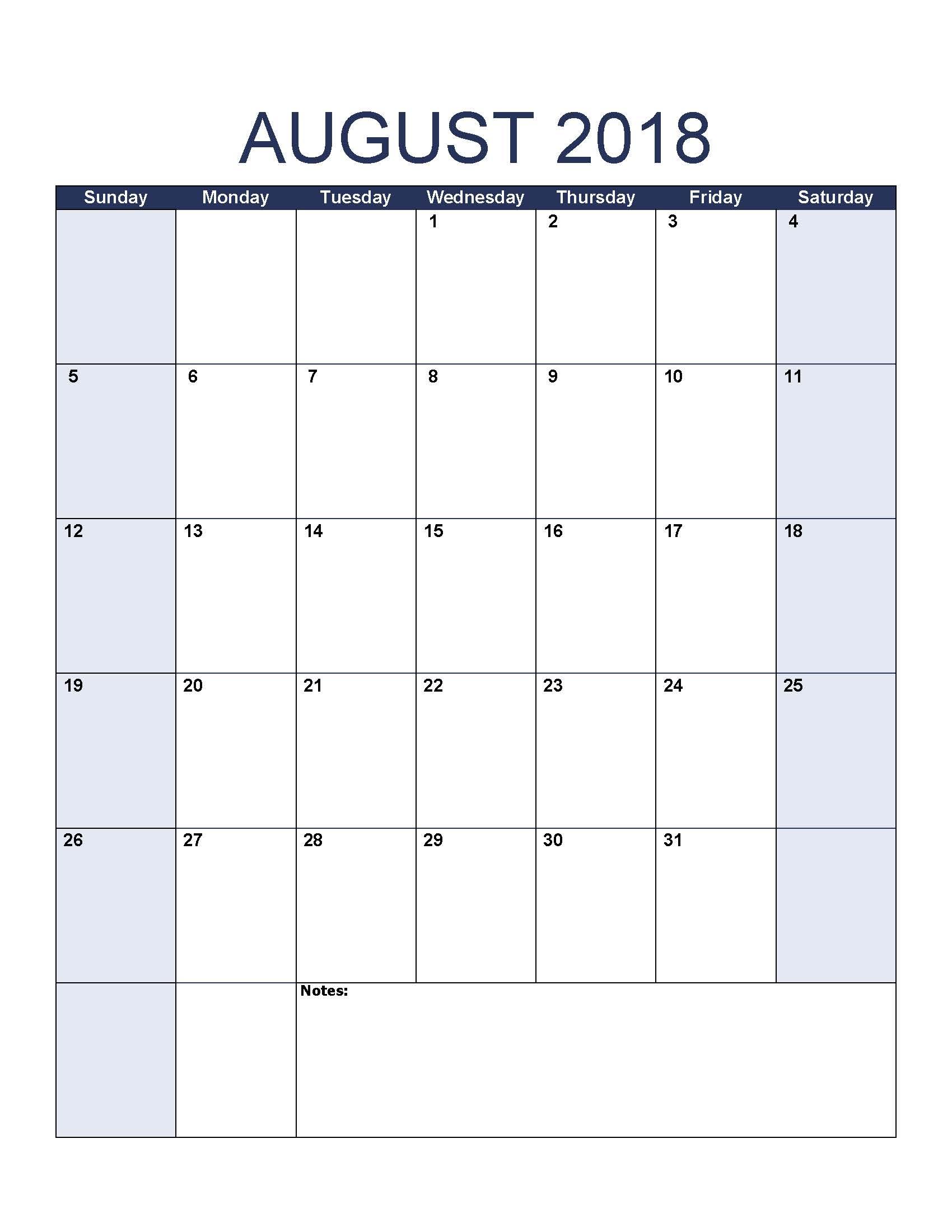 Blank August 2018 Calendar To Print