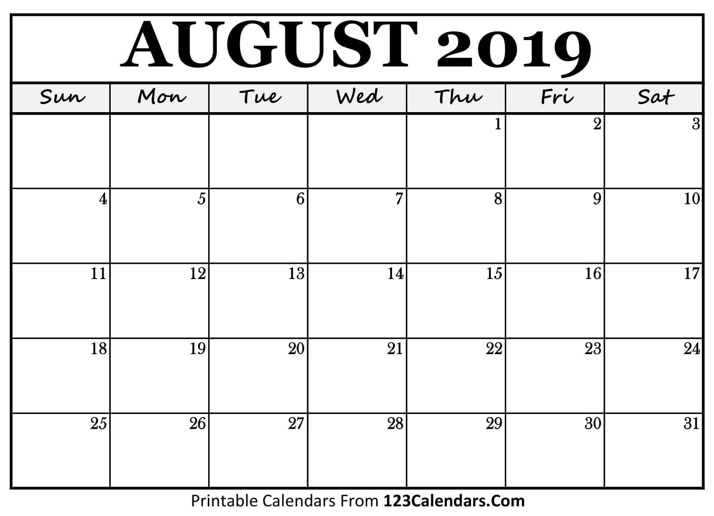 Blank August 2019 Calendar To Print